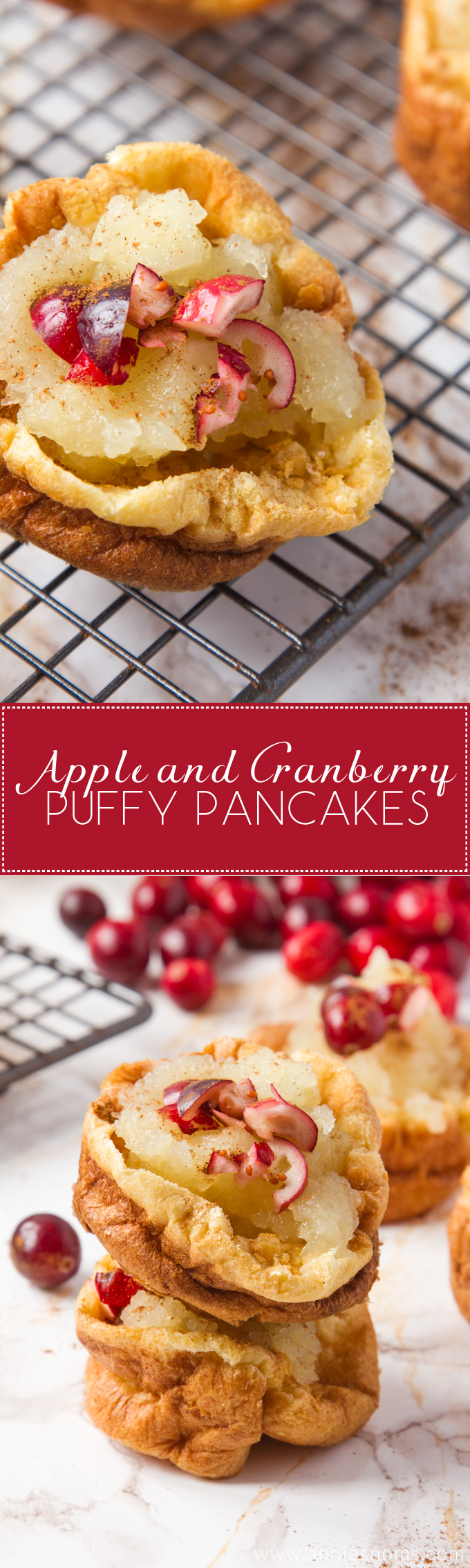 These cute little Apple and Cranberry Puffy Pancakes are the perfect breakfast on the go! Ready in under 30 minutes, you can fill them with whatever fruit you want to make an utterly delicious portable breakfast!