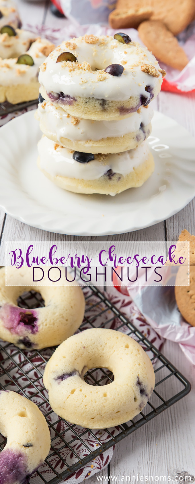 These Baked Blueberry Cheesecake Doughnuts are filled with juicy blueberries and topped with the most amazing cream cheese frosting and biscuit crumbs.