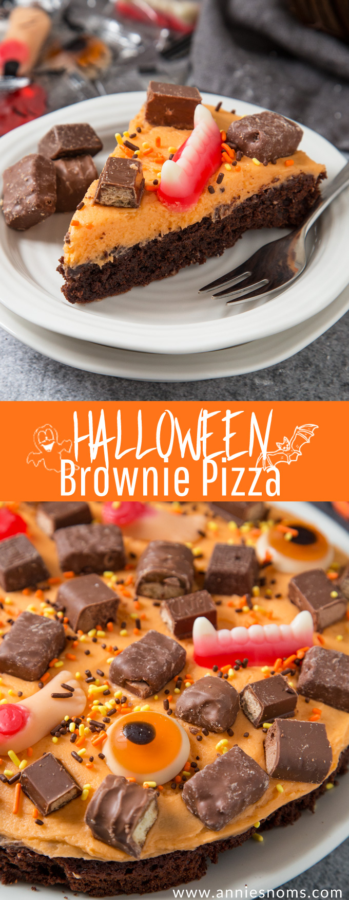 A thick and chewy brownie topped with creamy buttercream and leftover Halloween sweets. Fun to make and super delicious!
