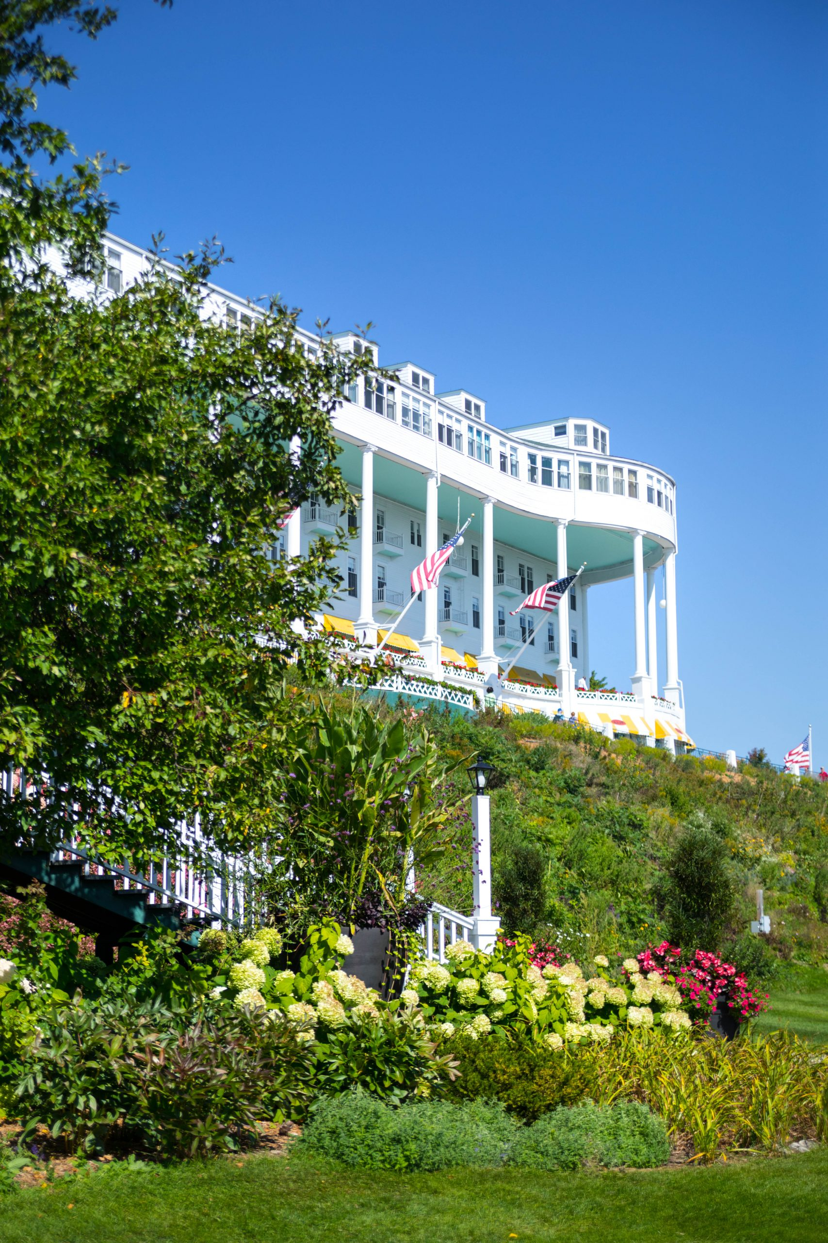 View from Lawn of Grand Hotel on Mackinac Island Michigan Americas Summer Place by Annie Fairfax Luxury Travel Writer & Photographer