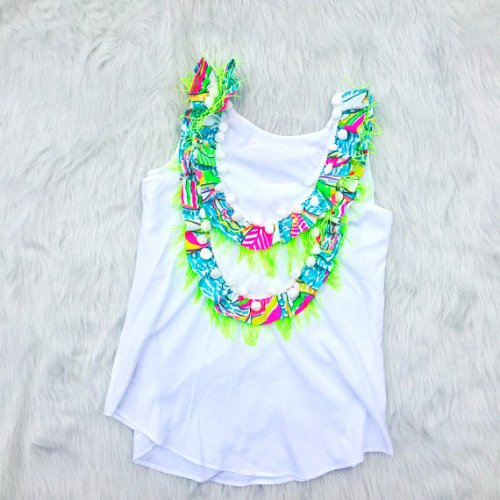Lilly Inspired Pom Pom Ruffle Top in You Gotta Regatta YGR