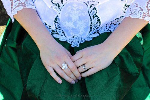 Annie Fairfax Green Skirt Cutout White Blouse