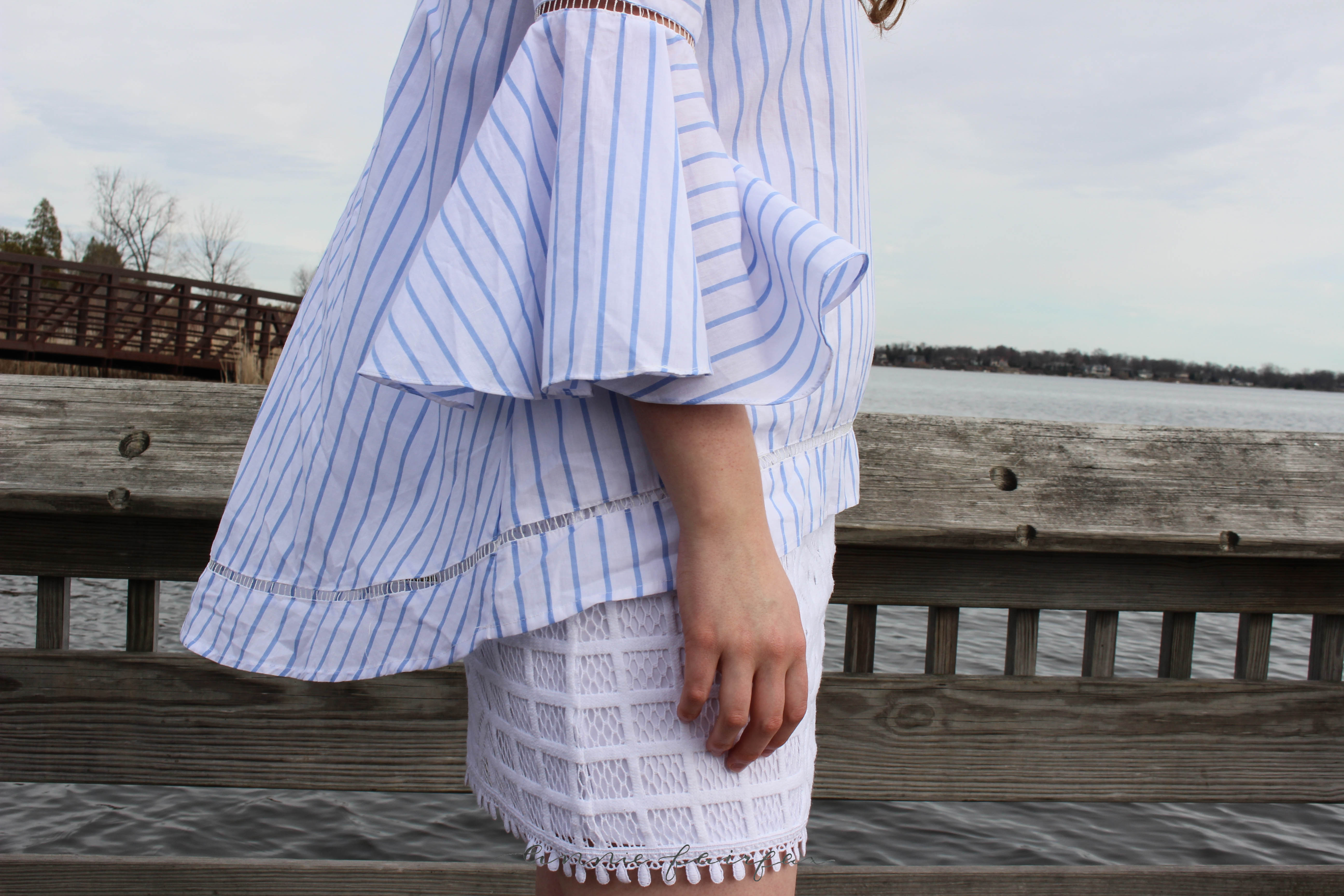 Striped Bell Sleeve Top and Nautical Skirt by Annie Fairfax