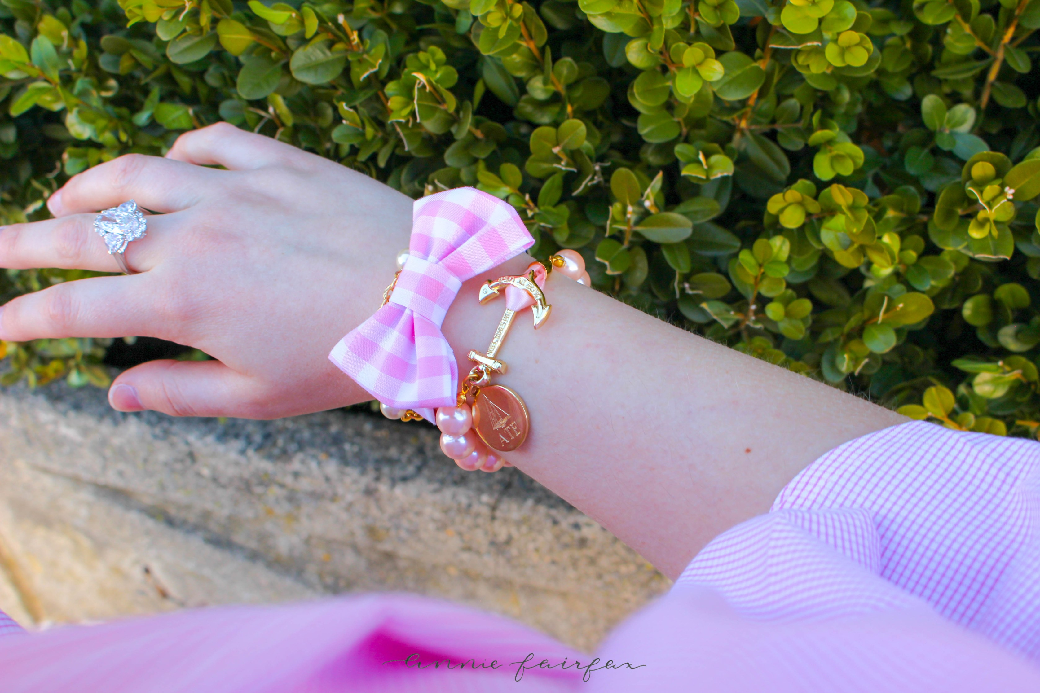 $16 Pink Seersucker Off the Shoulder Top Paired with White Jeans, Gingham Bow Bracelets, and Nautical Jewelry. Shop the post on AnnieWearsIt.com!