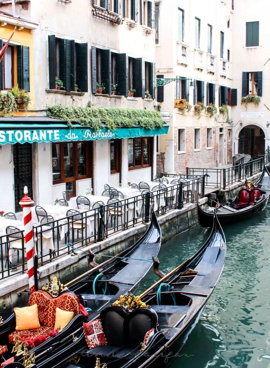 Gondola in Canal in Venice, Italy Venezia Italia