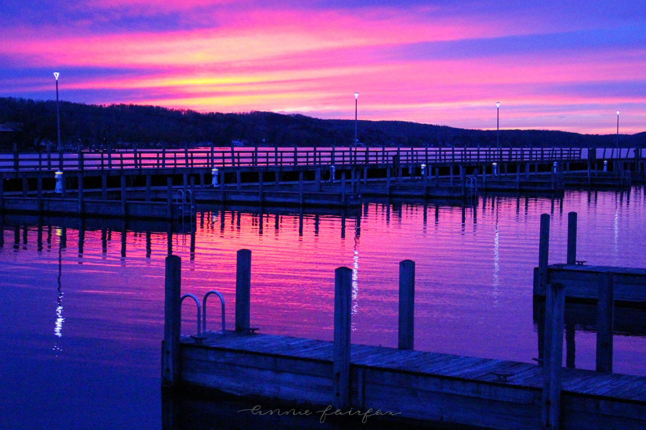 Sunset on the East Jordan, MI Marina by Annie Fairfax