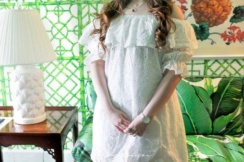 Shein Off the Shouler OTS Eyelet Ruffle Dress Starfish Project Necklace Turtle Ring Grand Hotel Ringlets Curly hair