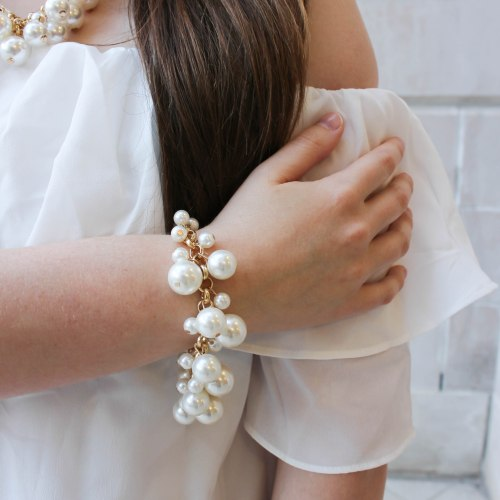 Romantic Ivory Off the Shoulder Dress & Pearls