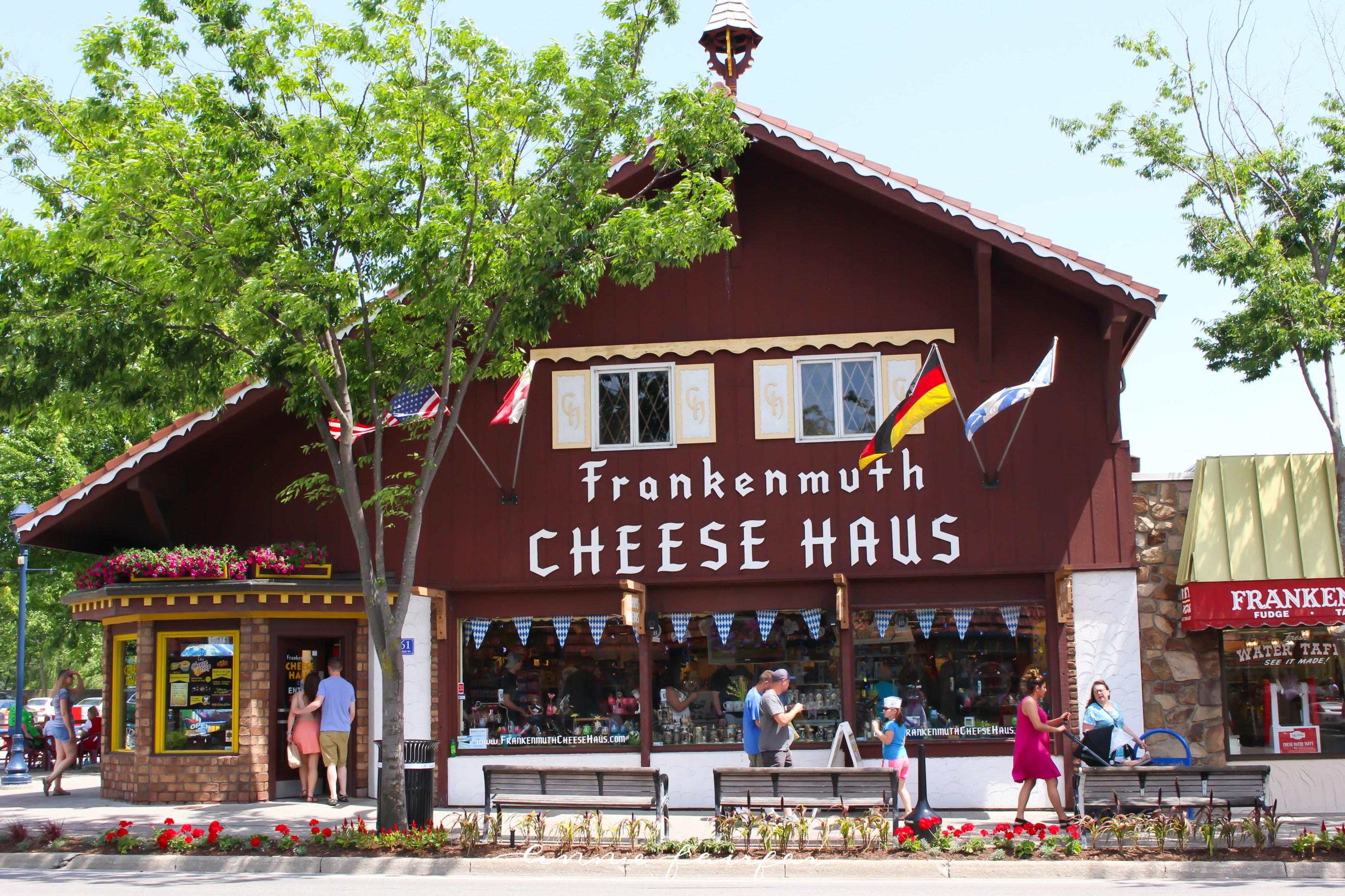 Frankenmuth Cheese House Holz Brucke Wooden Covered Bridge at Night Frankenmuth Bavarian Festival Michigan Tourism German Lederhosen Dirndl Dress