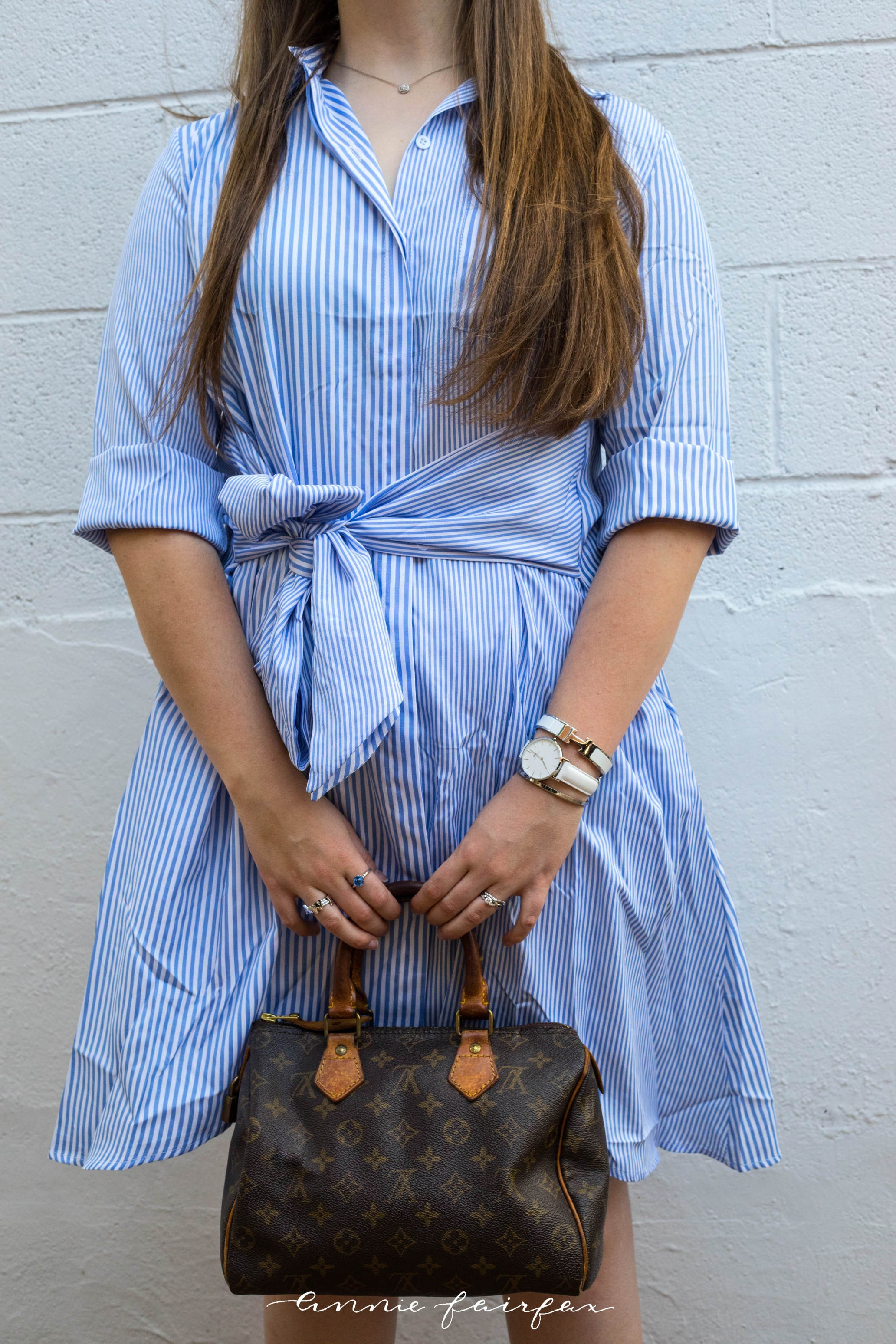 Striped Blue & White Shirt Dress Louis Vuitton Daniel Wellington AnnieWearsIt