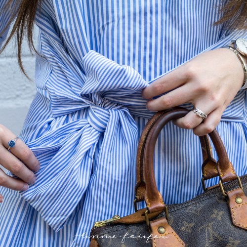 Blue Topaz & Blue Striped Shirt Dress
