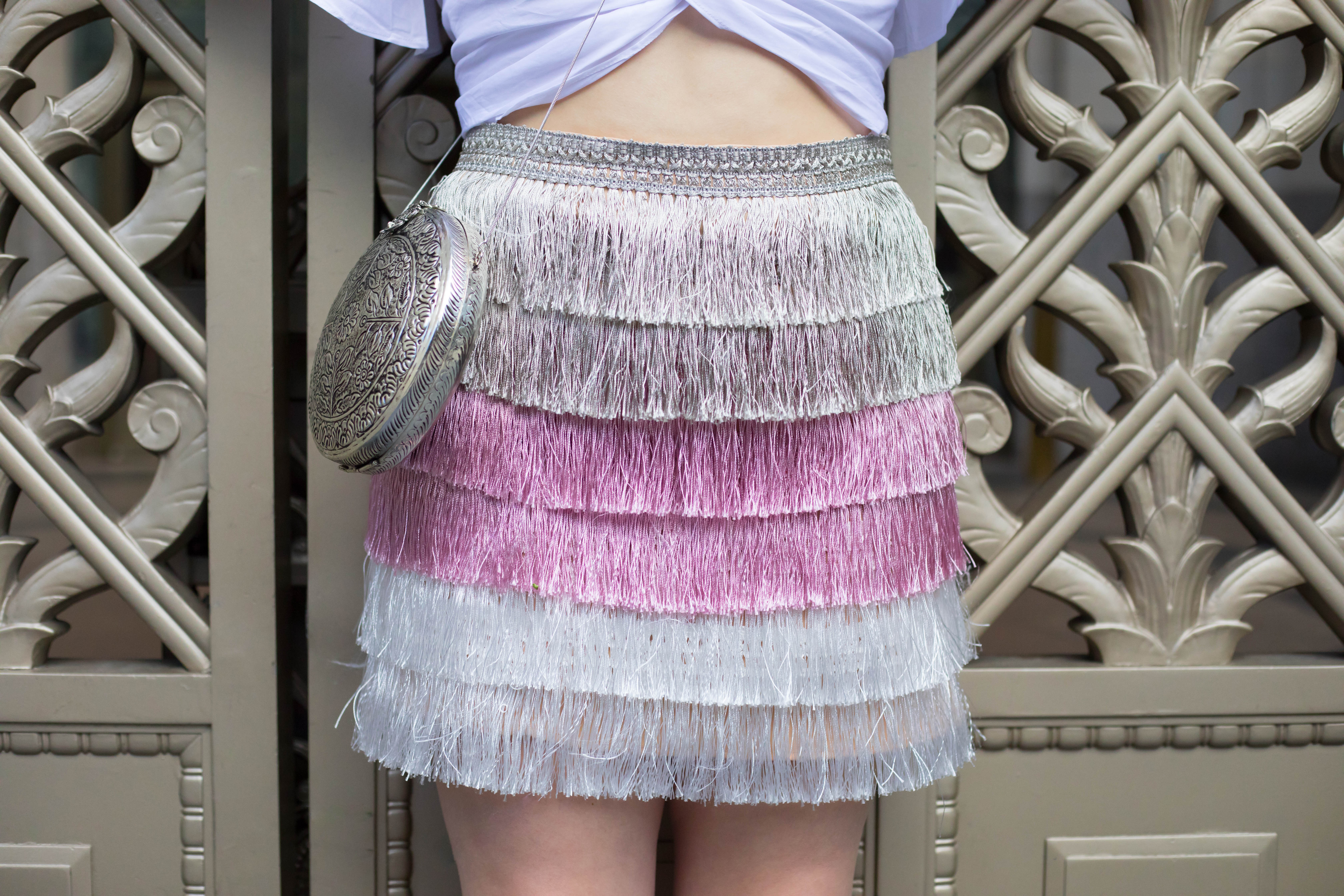 Metallic ombre Fringe Skirt by Misguided From St Xavier Round metal Purse