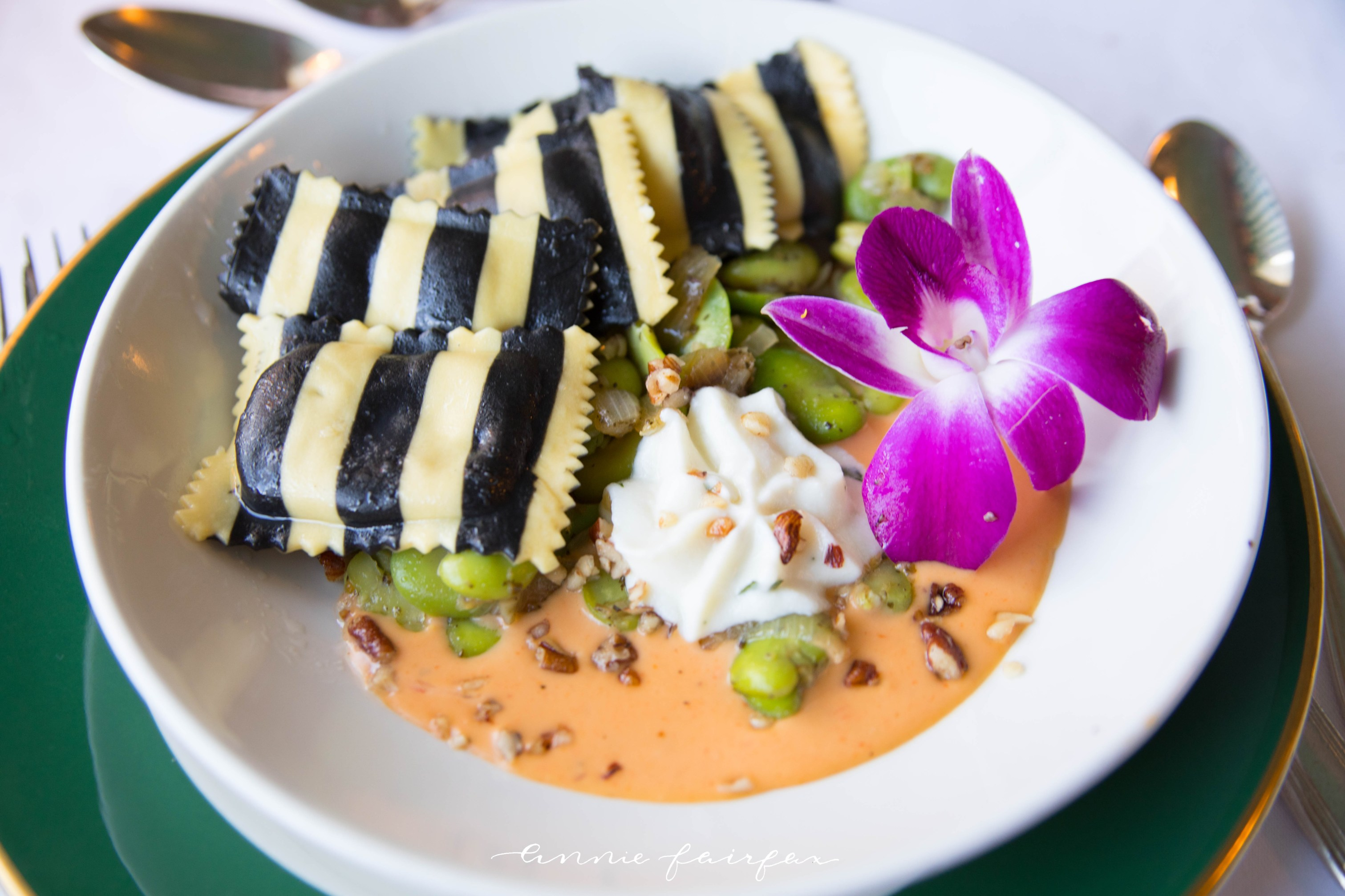 Black and White Striped Ravioli at the Grand Hotel on Mackinac Island