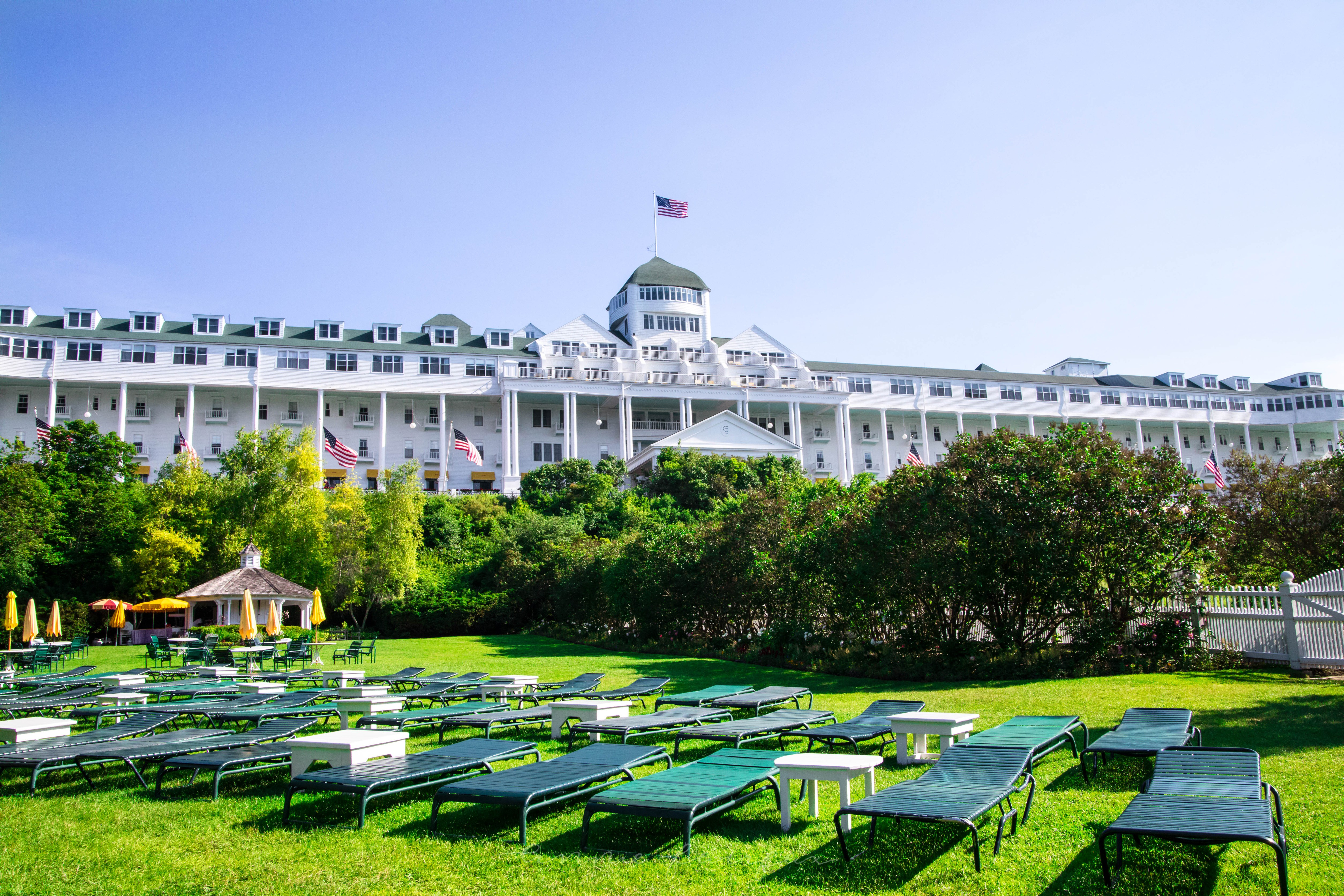 View from Esther Williams Swimming Pool Grand Hotel Mackinac Island
