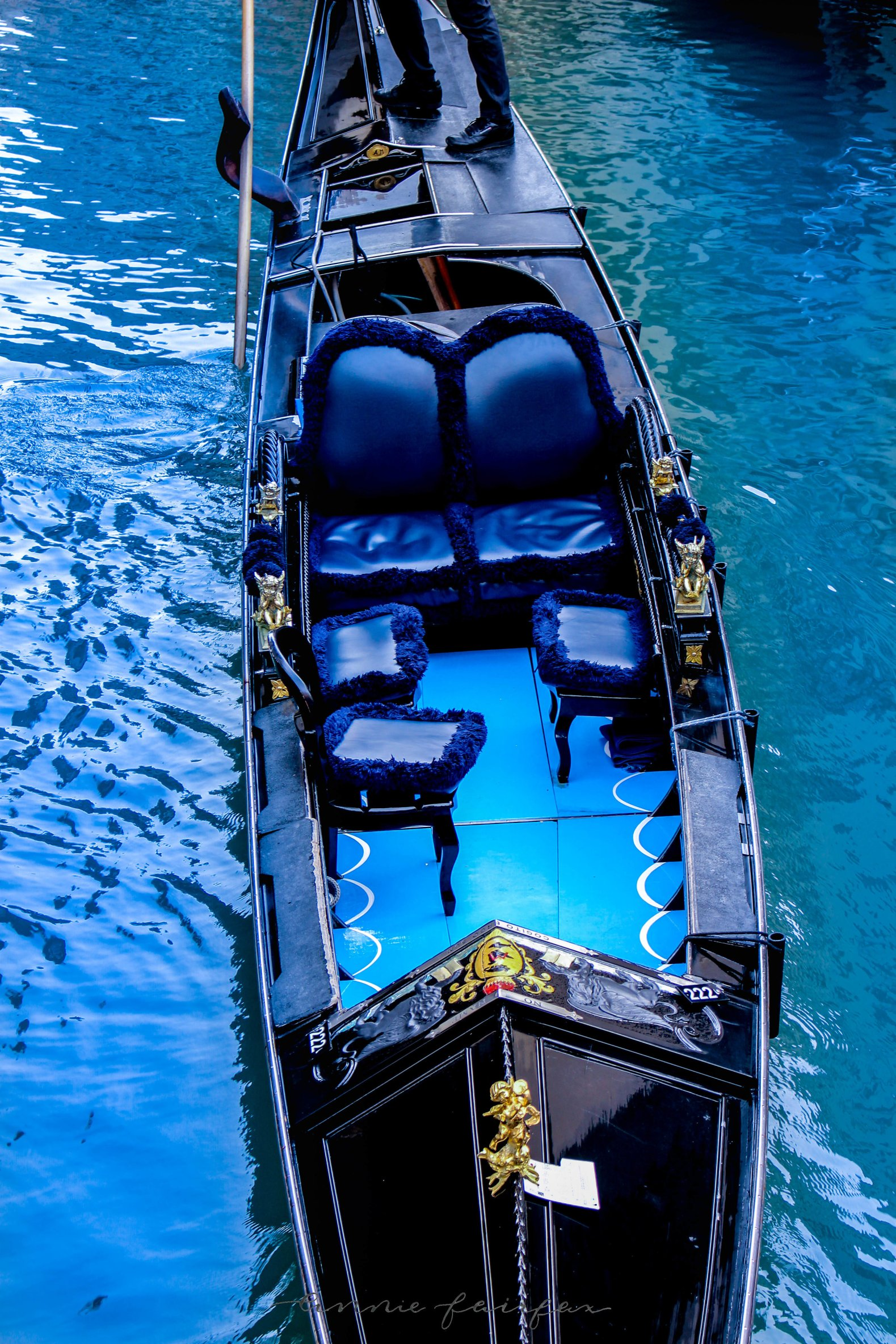 blue and black gondola Venice Italy