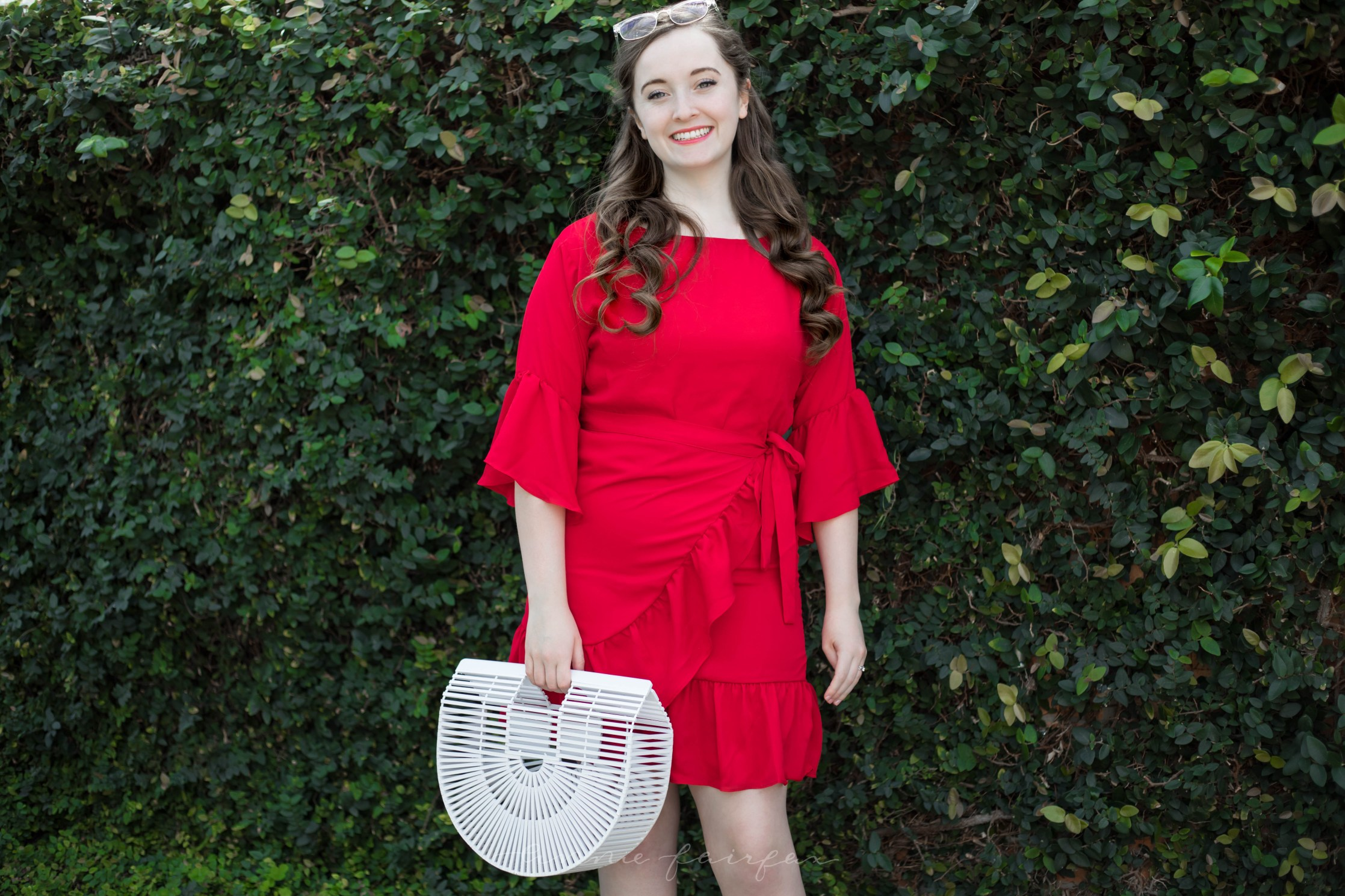 Bobeau Red Wrap Dress White Ark Basket Bag Palm Beach Sandals What I Wore in Mexico