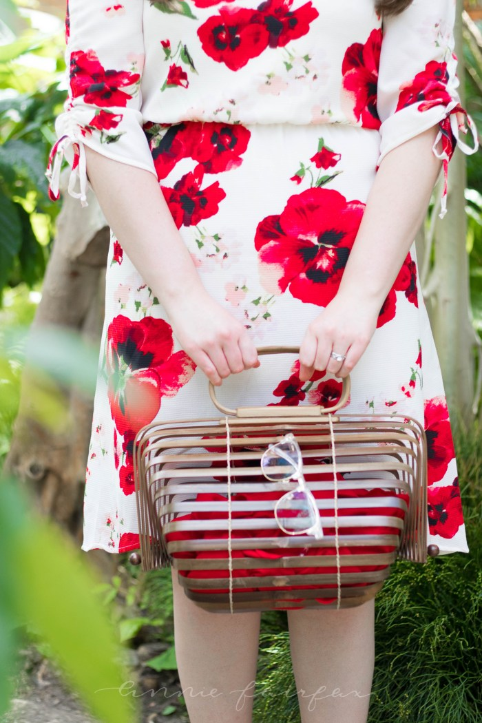 Red Floral Tie Sleeve Dress & Vintage Japanese Picnic Basket