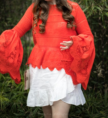 Free People Bell Sleeve Top, J Crew Linen Ruffle Apron Skirt Mary Frances Lobster Silk and Glass Bead Handmade Purse Textured Outfit
