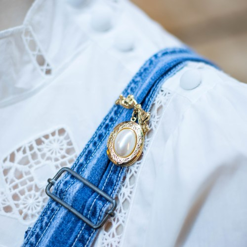 Springtime Overalls, Eyelet & Feathers