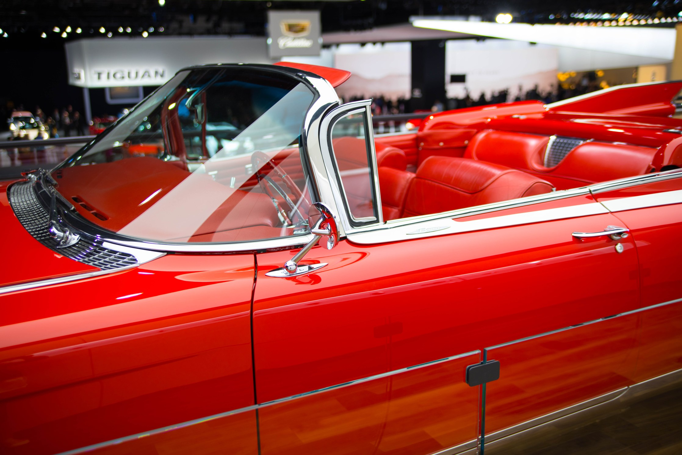 Candy Apple Red El Dorado Classic Cadillac Luxury Car at Detroit's North American International Auto Show Press Preview Day NAIAS 2019 by Annie Fairfax