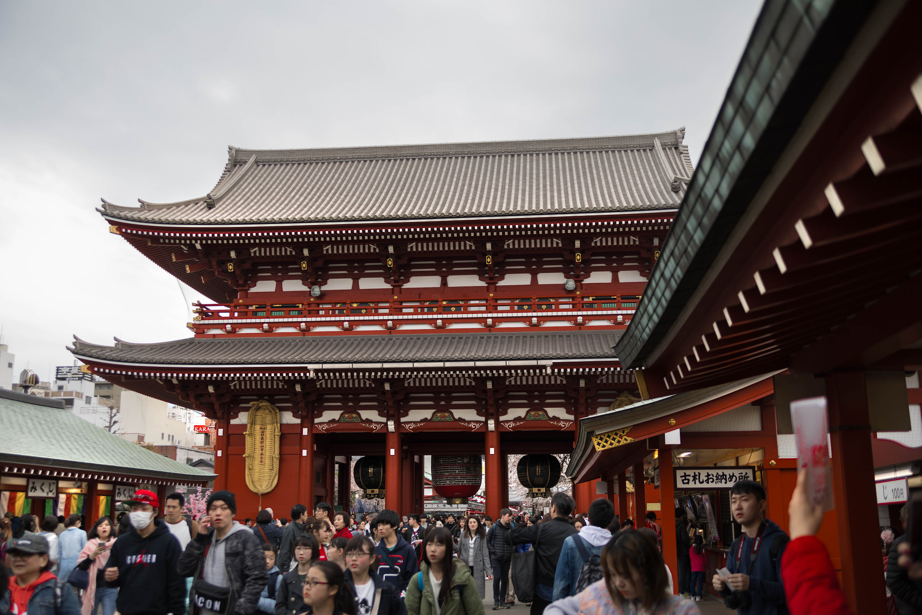 Crowds of People at Senso-Ji Temple Kaminarimon Thunder Gate Asakusa Kannon Buddhist Temple in Tokyo, Japan Shrine with Massive Red Japanese Paper Lanterns Near Tokyo Sky Tree Goddess of Mercy by Annie Fairfax
