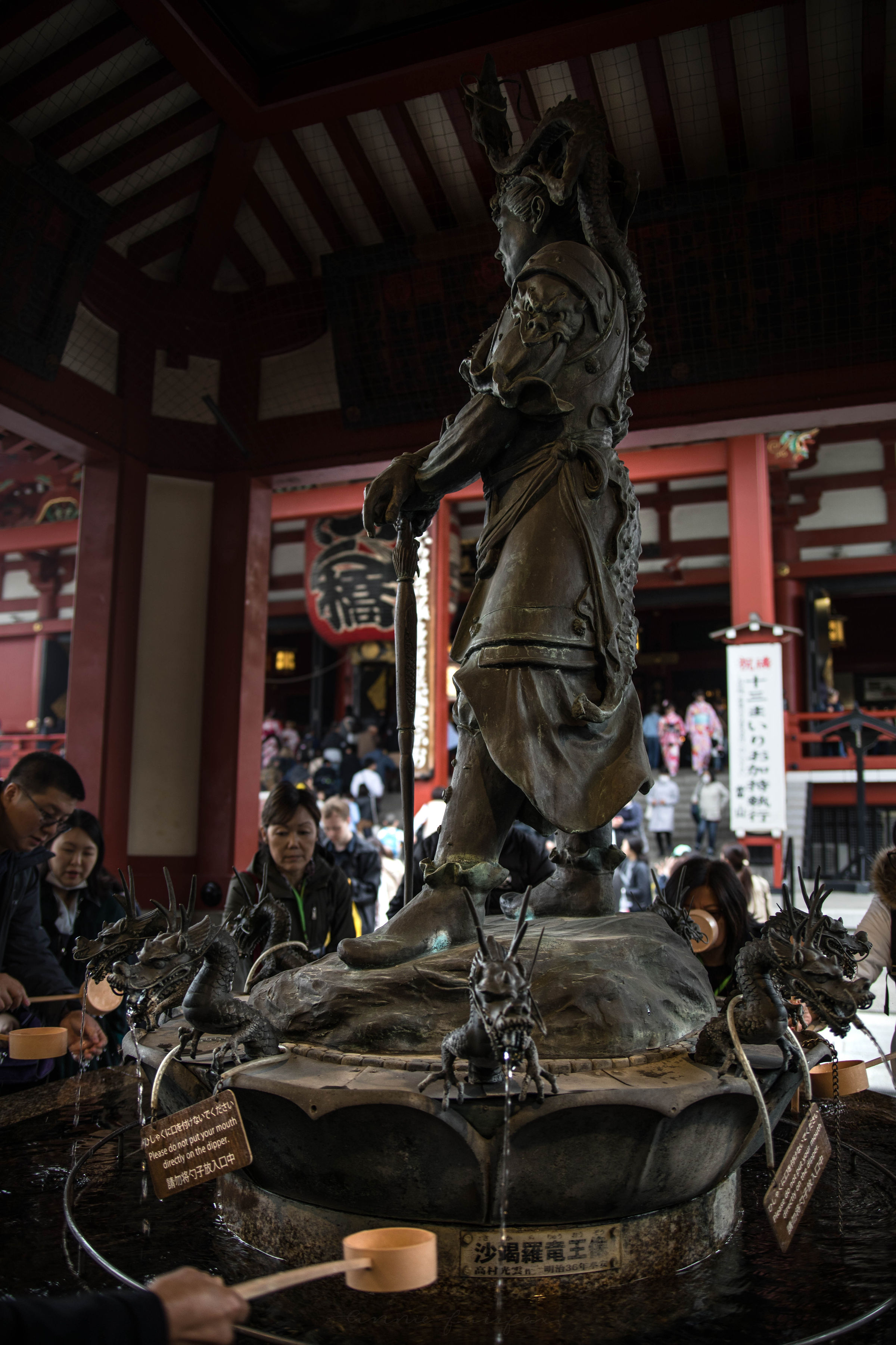Statue of Warrior Senso-Ji Temple Asakusa Kannon Buddhist Temple in Tokyo, Japan Shrine with Massive Red Japanese Paper Lanterns Near Tokyo Sky Tree Goddess of Mercy by Annie Fairfax Where to Visit Tokyo Things to do In Tokyo, Japanese Travel Tourism Trip Inspiration Pictues of tokyo Japan