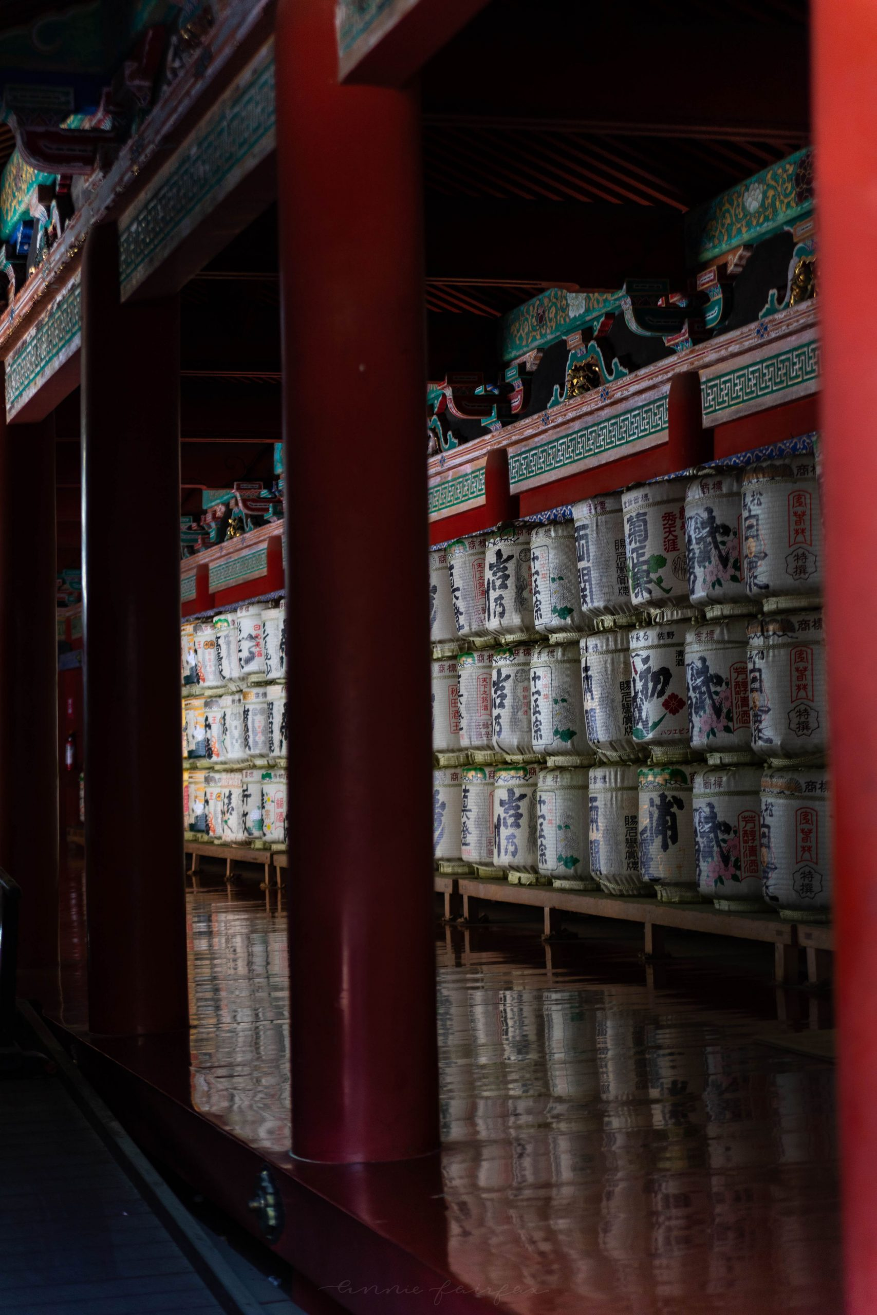 Sake Barrel Offerings at Shinto Shrine in Nikko, Japan Photographed by Annie Fairfax