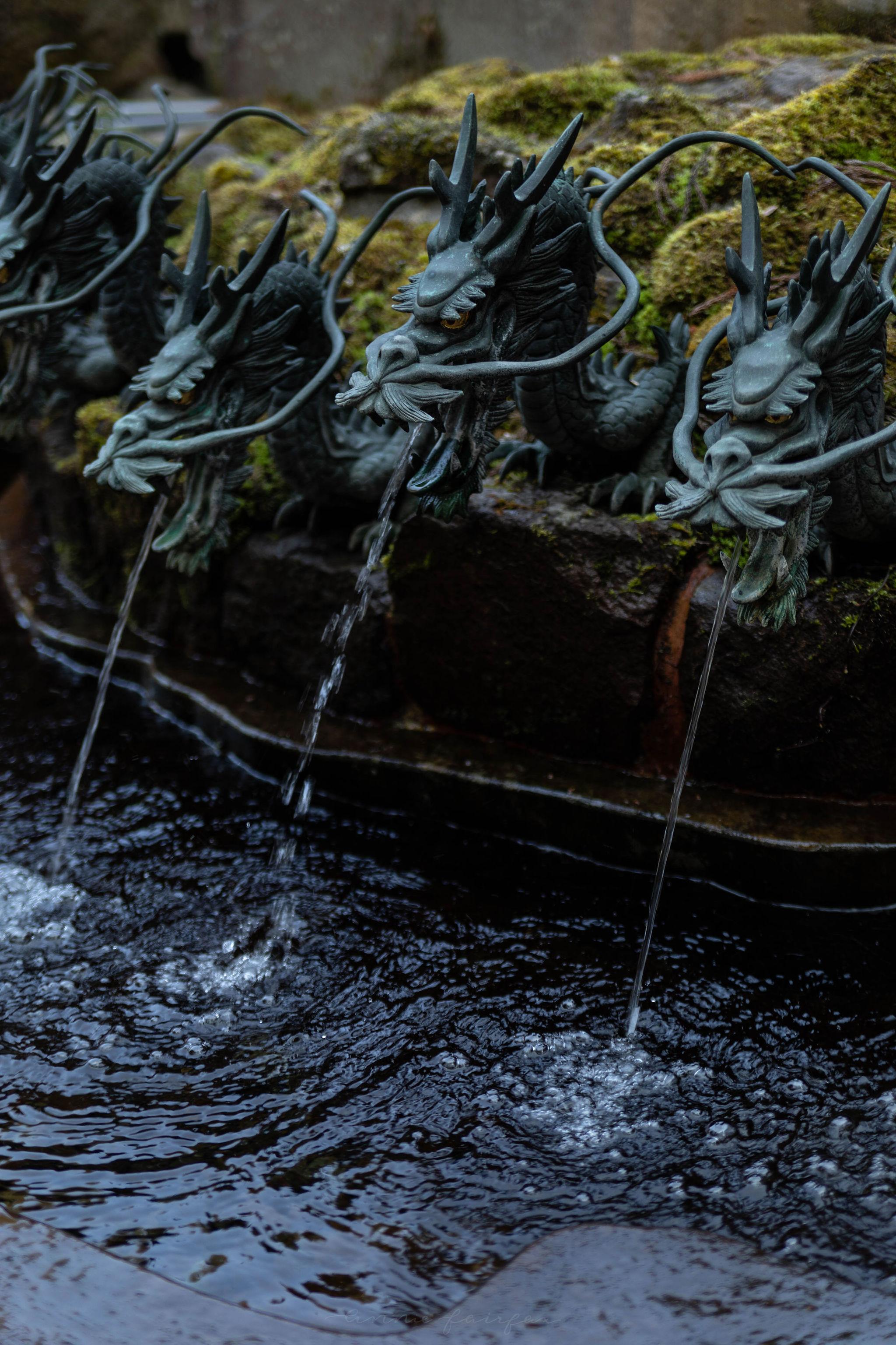Hakone Dragon Fountain Chozuya Japanese Shinto Shrine Ablution Purification Ritual Cleansing in Japan