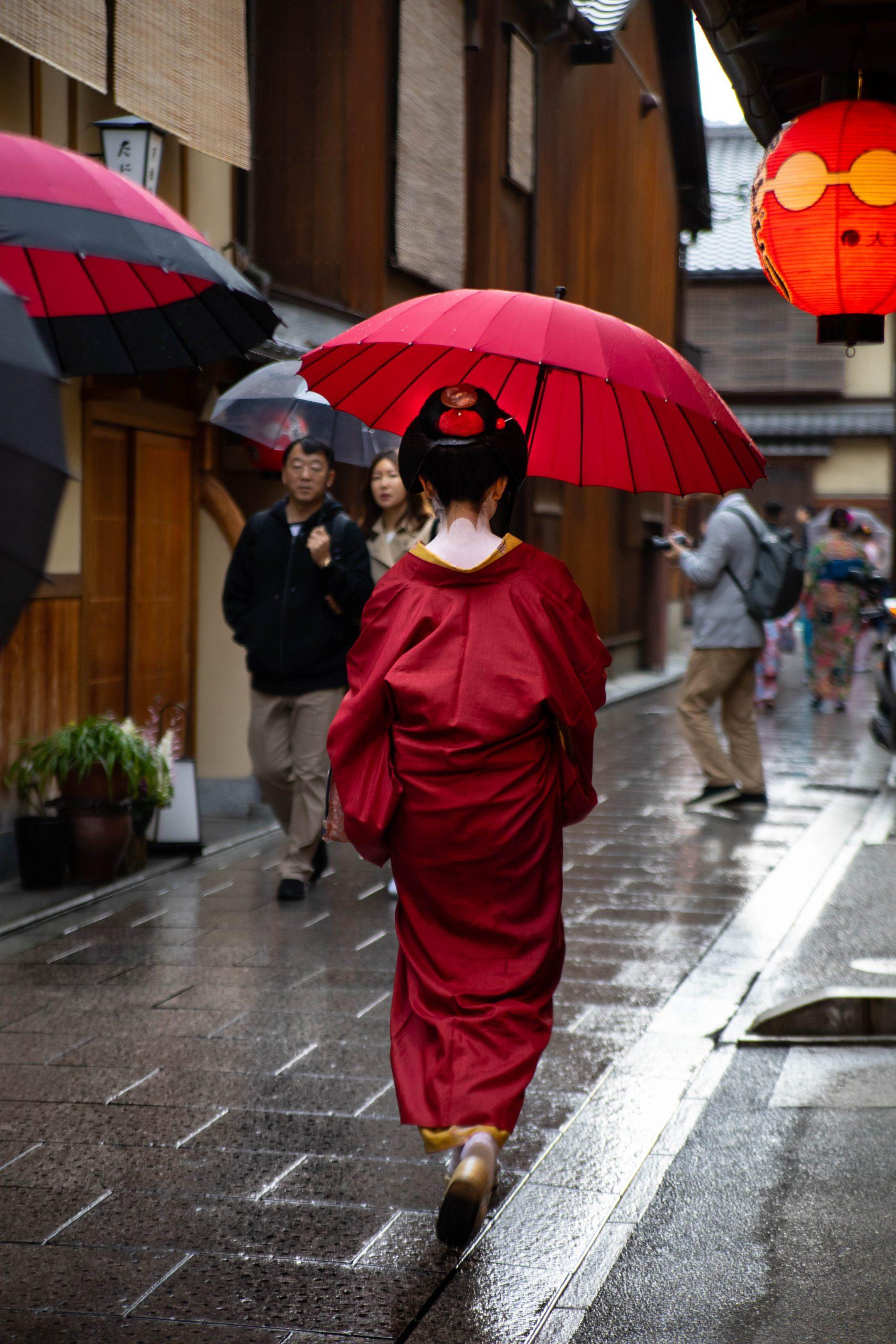 Geisha Maiko Apprentice Walking to Work in Kimono in Gion, Kyoto, Japan
