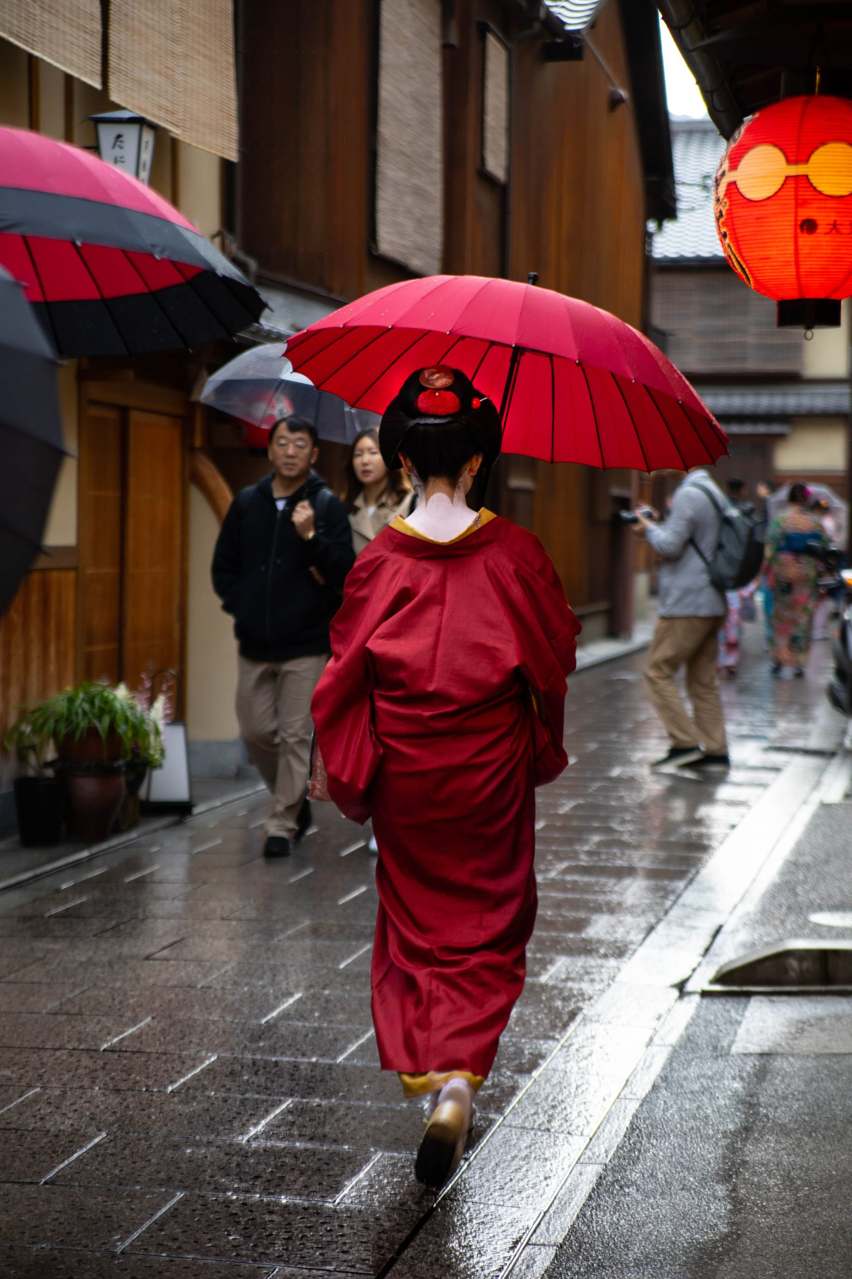 Geisha Maiko Apprentice Walking to Work in Kimono in Gion, Kyoto, Japan