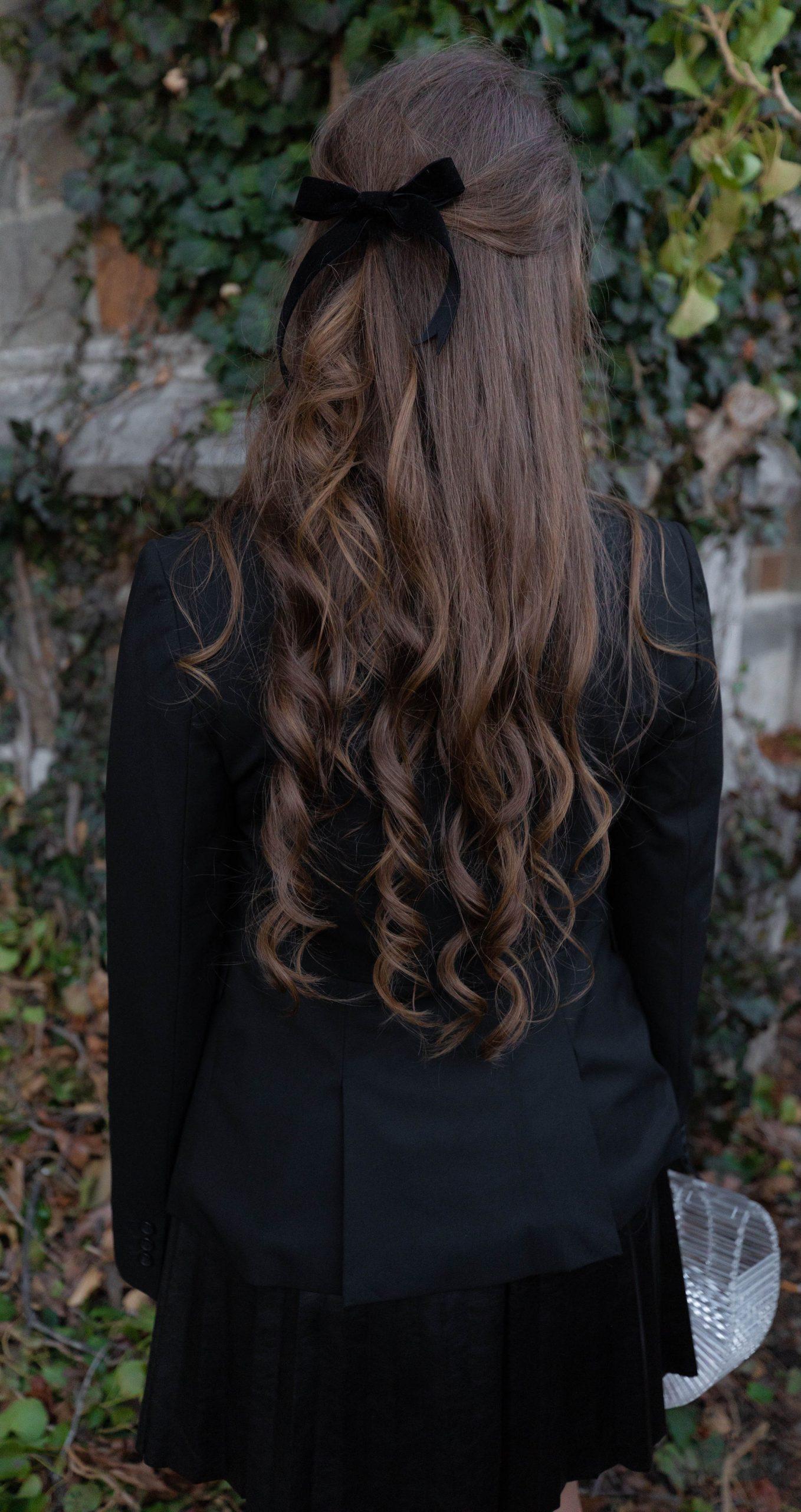 Curly Hair with a Handmade Black Velvet Hair Bow