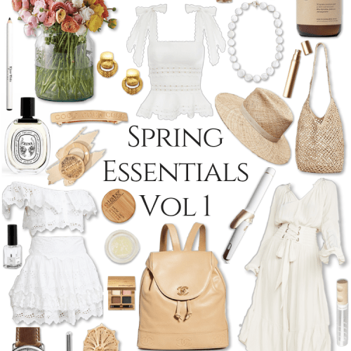Spring Style Essentials Volume 1 by Annie Fairfax What to Wear Spring Straw Hats Eyelet Ruffle Layers Fresh Flowers Freshwater Pearls Clean Beauty Vegan Cosmetics Chanel Serena & Lily Kiel James Patrick Tan Taupe Sunny Neutrals