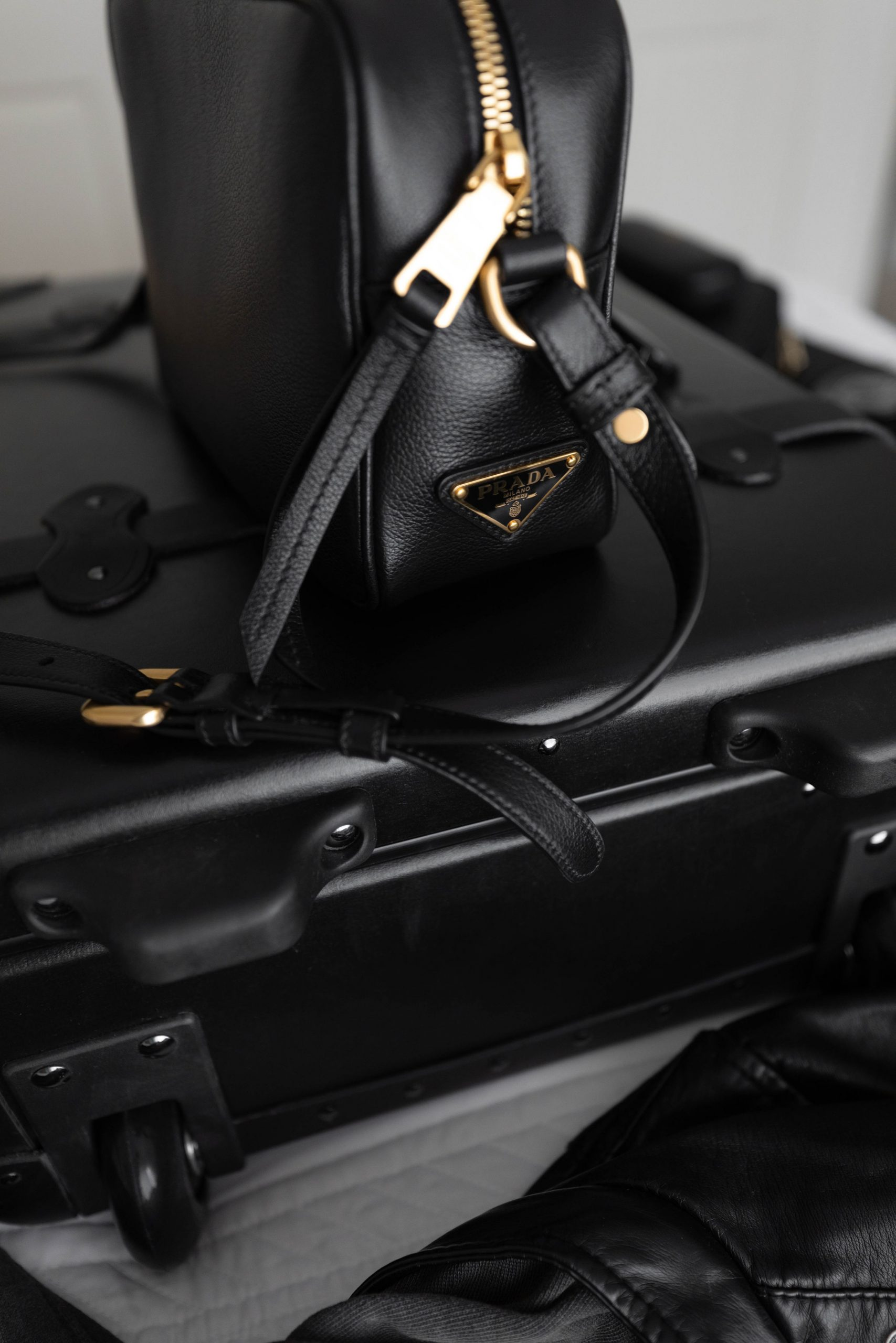 Black Industrialist Steamline Luggage Carry-on Suitcase Leather Sophisticated Travel by Annie Fairfax