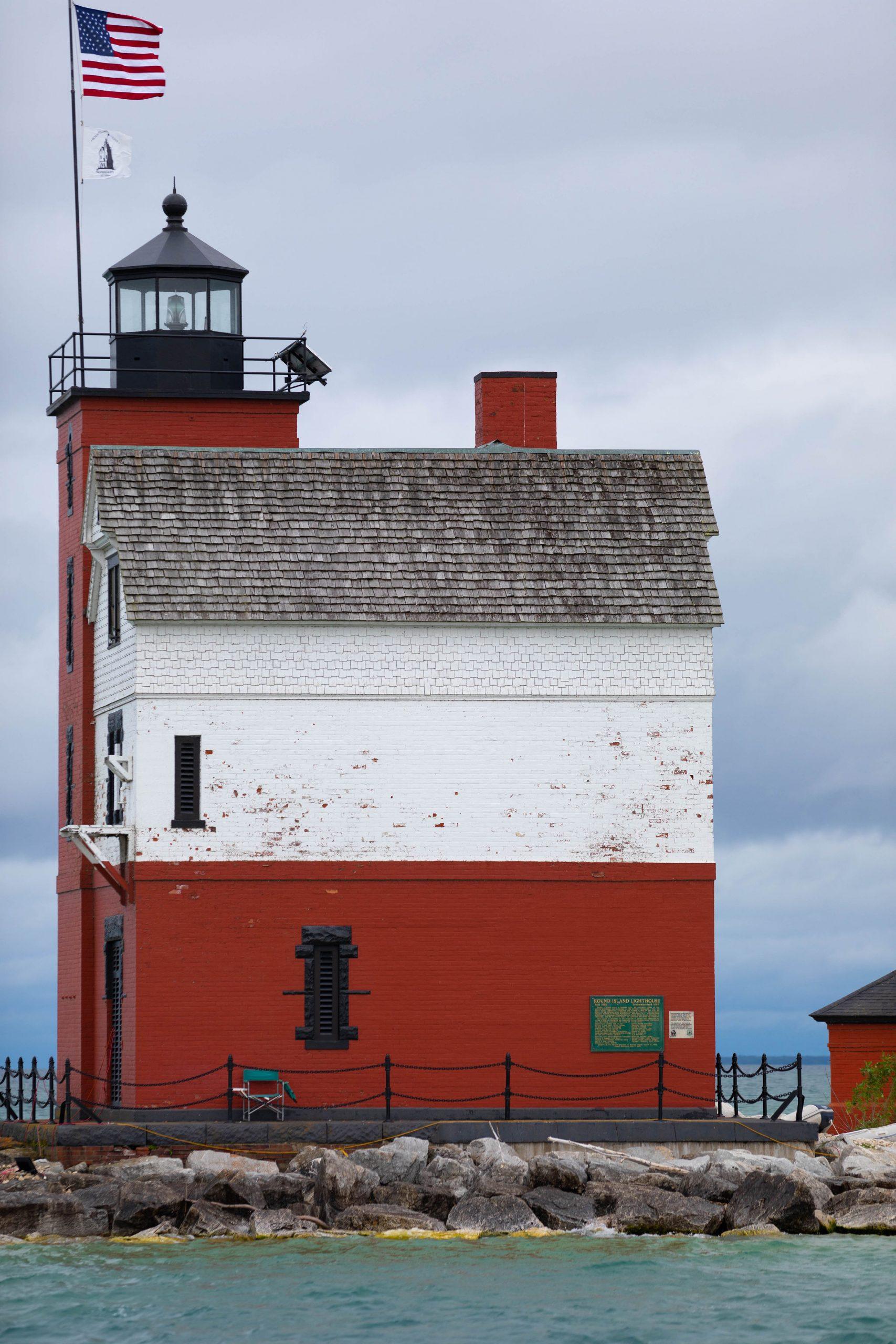 Round Island Lighthouse Straits of Mackinac Sunset Sailing by Annie Fairfax