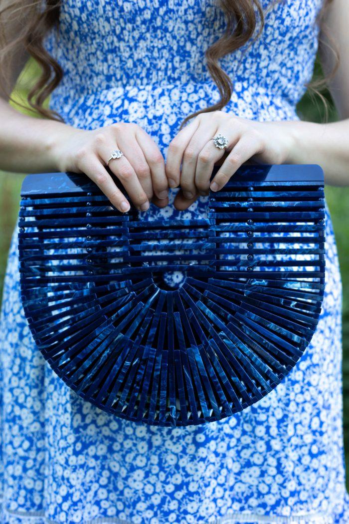 Lost + Wander Blue & White Midi Dress