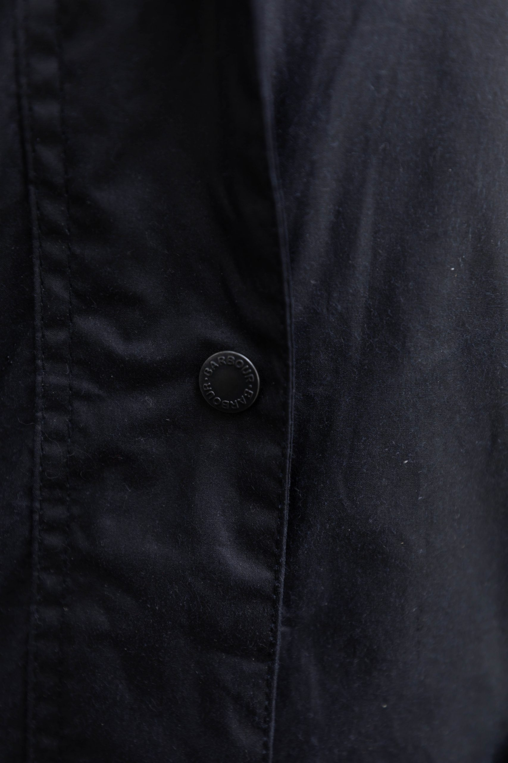 Barbour Oceanfront Hooded Rain Jacket in Navy Blue Waxed Cotton by Annie Fairfax