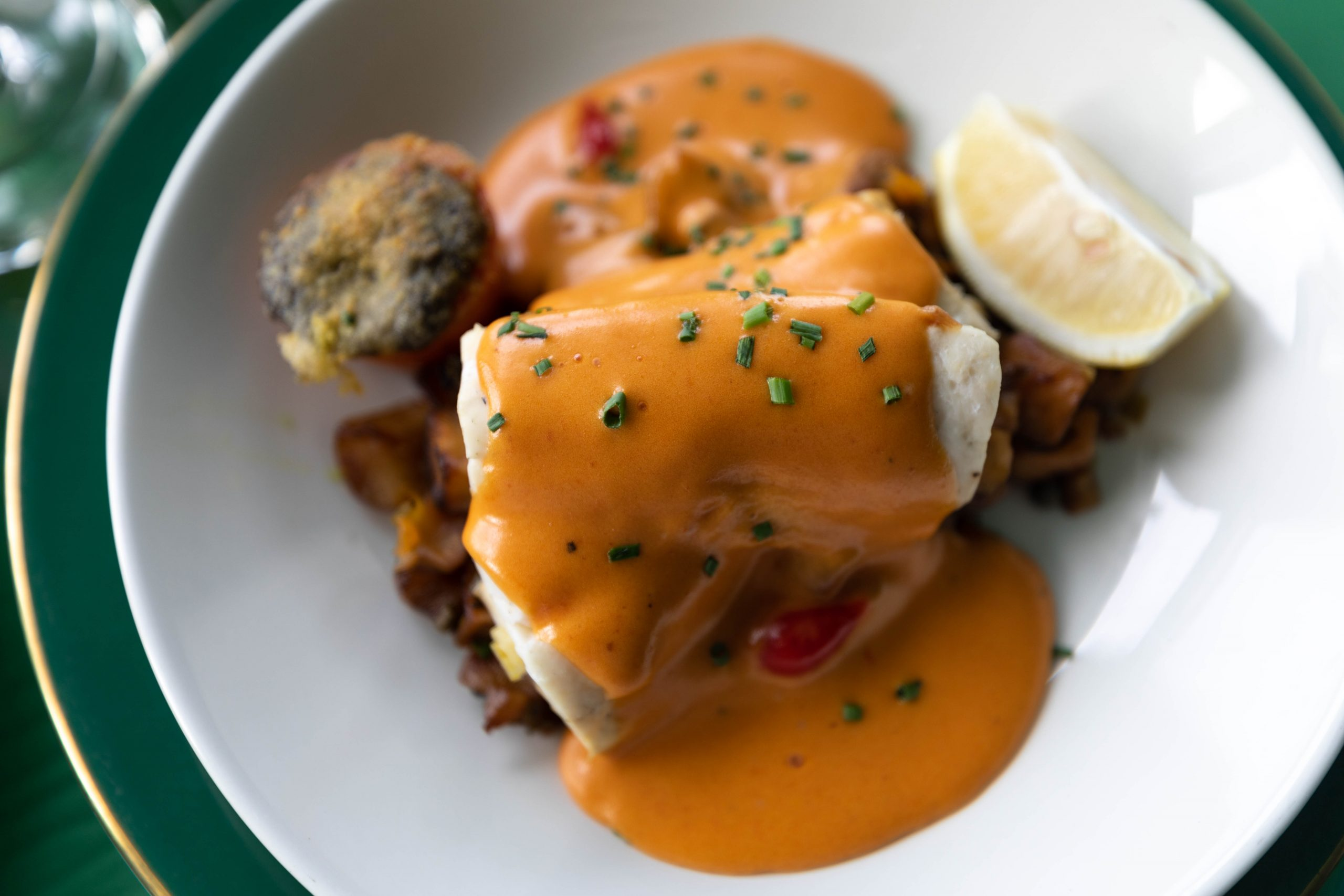 Lake Superior Wild Caught Walleye with a Tomato Hollandaise Sauce at Grand Hotel Mackinac Island by Annie Fairfax
