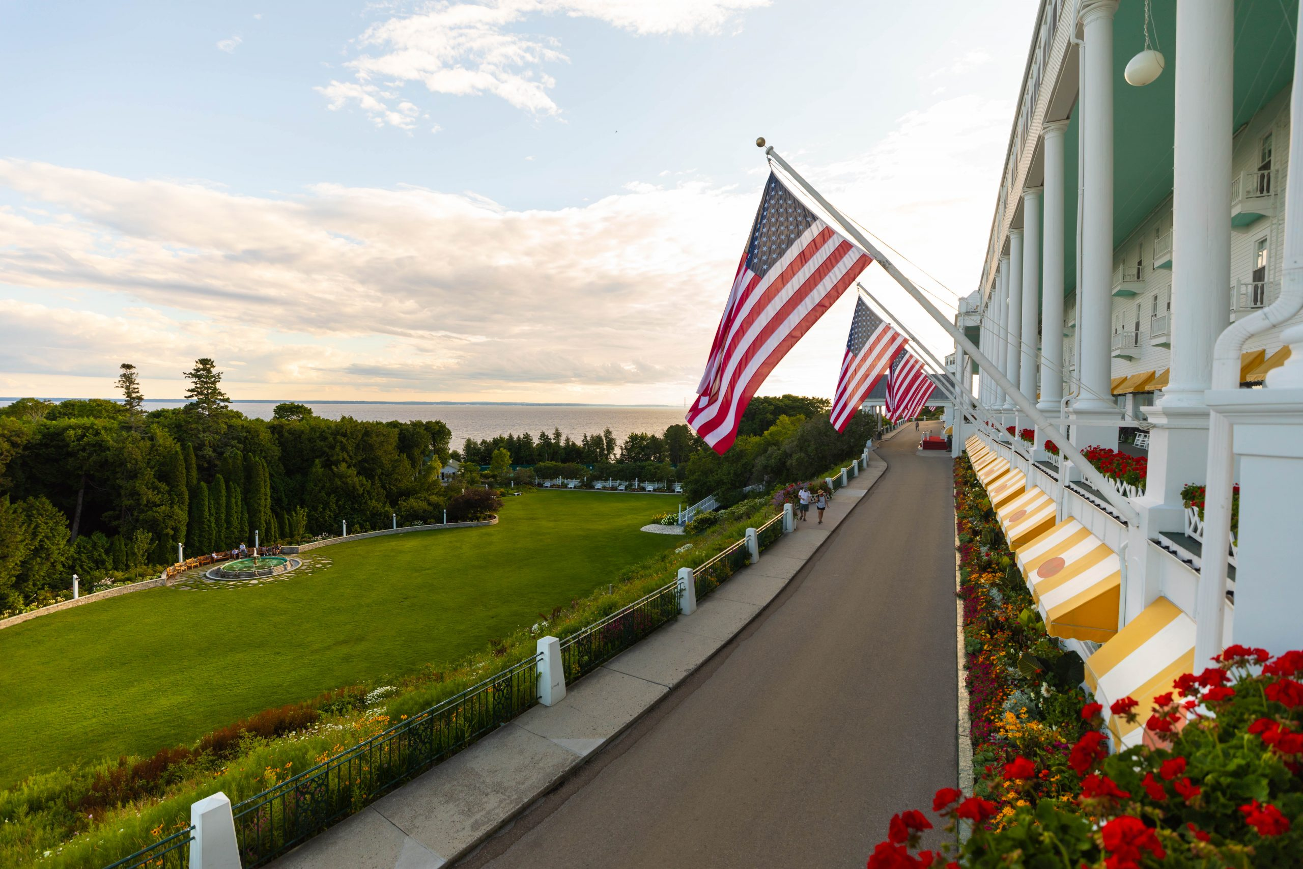 View of the Straits of Mackinac from Luxury Hotels of the World Grand Hotel on Mackinac Island in Northern Michigan Written and Photographed by Annie Fairfax