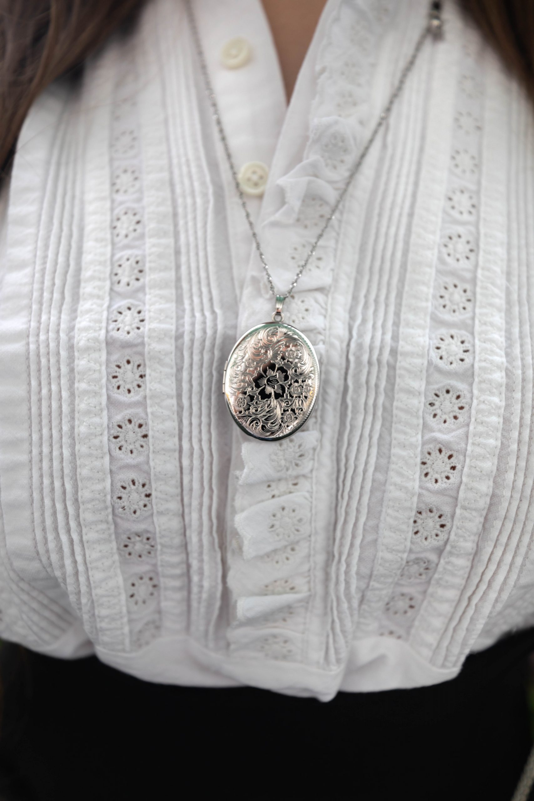 The Victorian Tuxedo White Eyelet Blouse by The Great Worn by Annie Fairfax