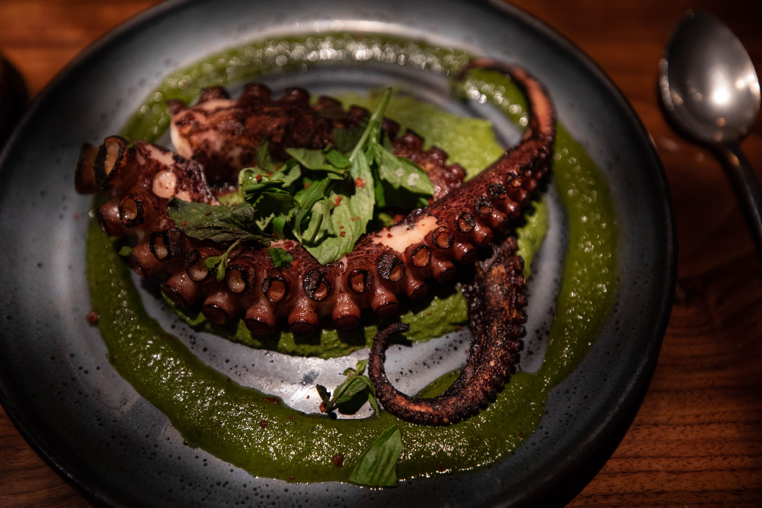 Spanish Octopus Green Hummus and Chimichirri Sauce at Aerlume Seattle Washington Puget Sound Pacific Northwest Farm to Table Fine Dining by Annie Fairfax