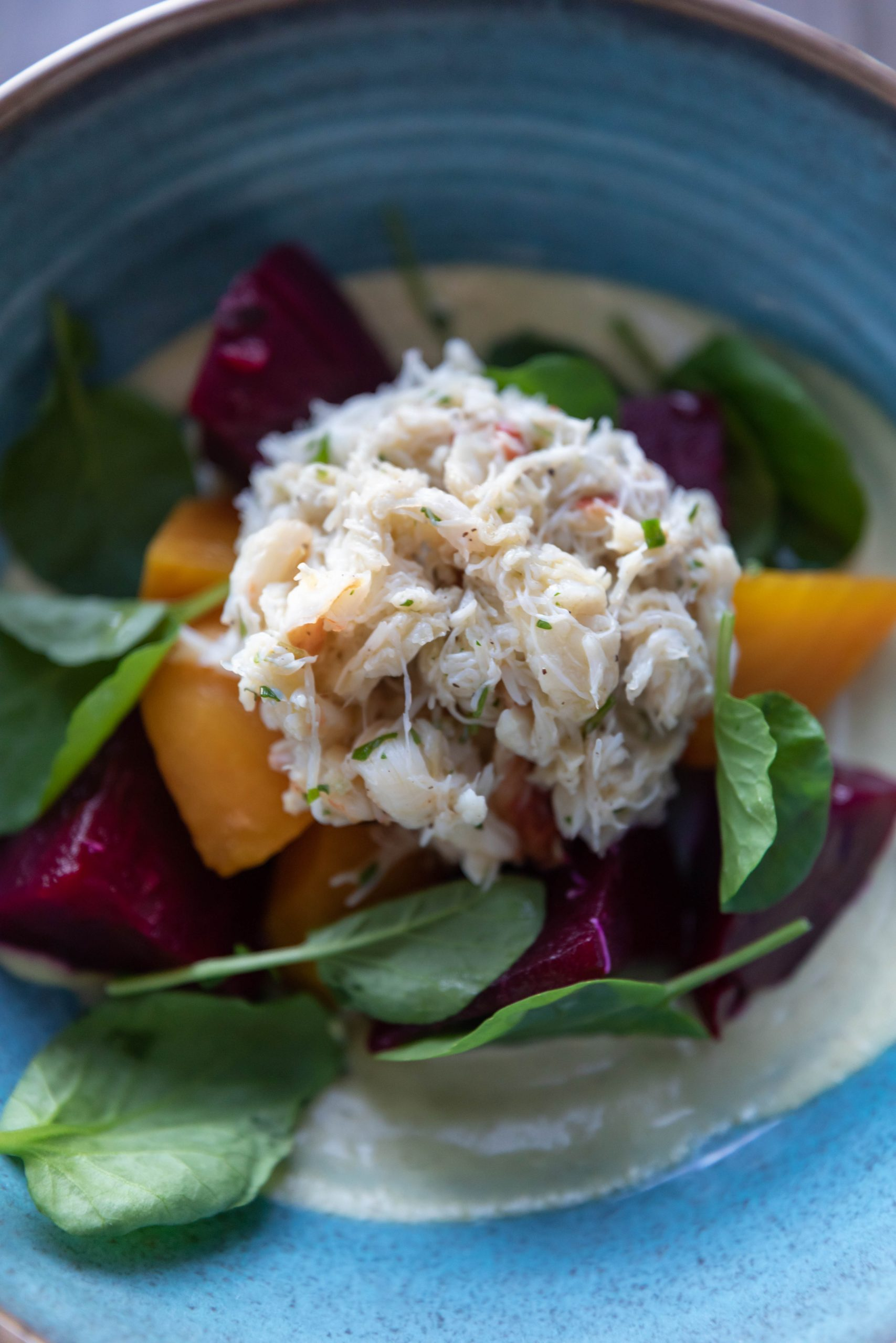 Dungeness crab and Beet Salad at Goldfinch Tavern Rooftop Infinity Pool Bar Four Seasons Hotel Seattle Washington by Annie Fairfax