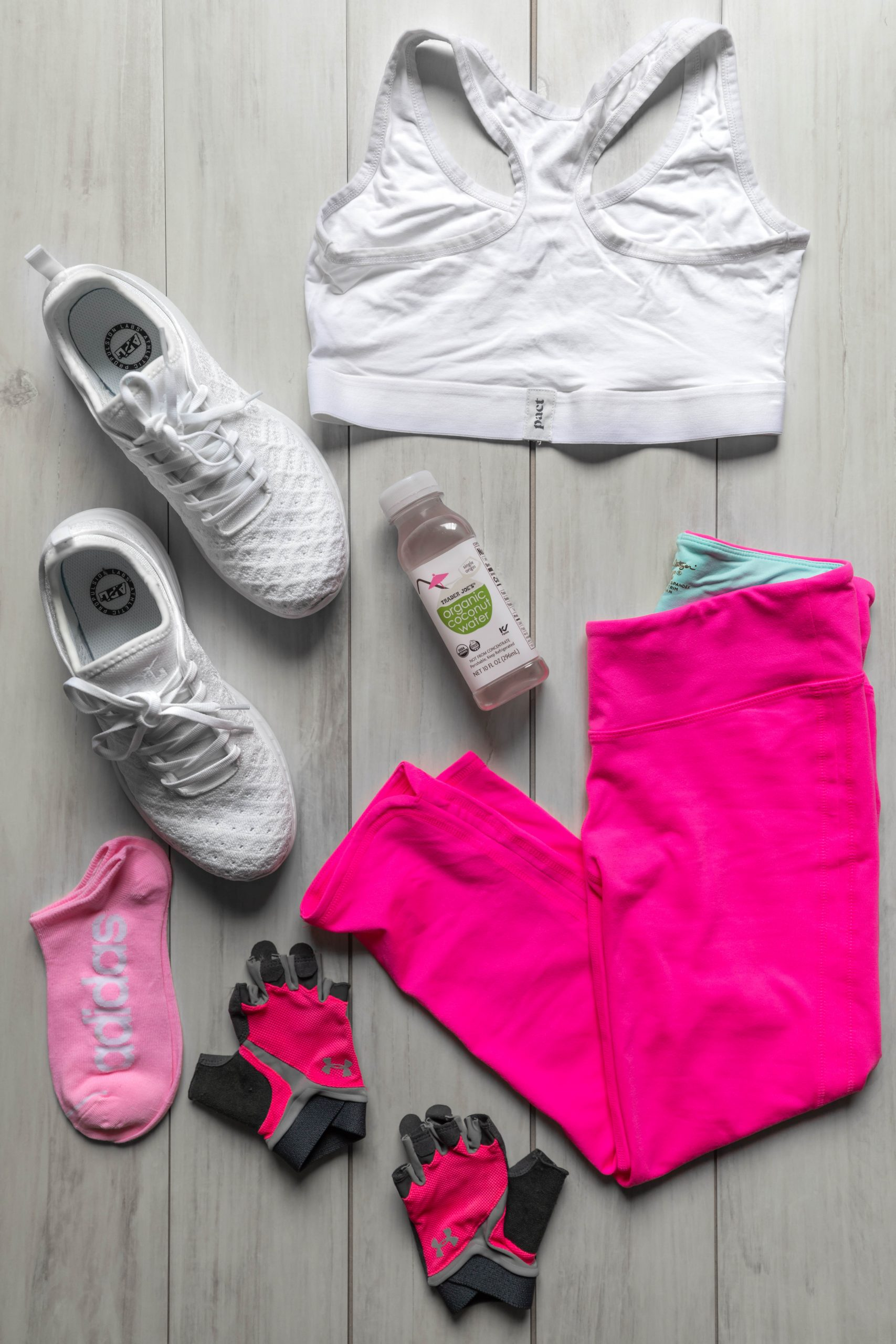 Alexis Ren 30 Day Workout Challenge Results & Review by Annie Fairfax Workout Aesthetic Outfit Pink and White Outfit Lilly Pulitzer Luxletic Pact Organic Cotton Sports Bra APL Athletic Propulsion Labs Adidas Socks Pink Girly Feminine Workout Clothing
