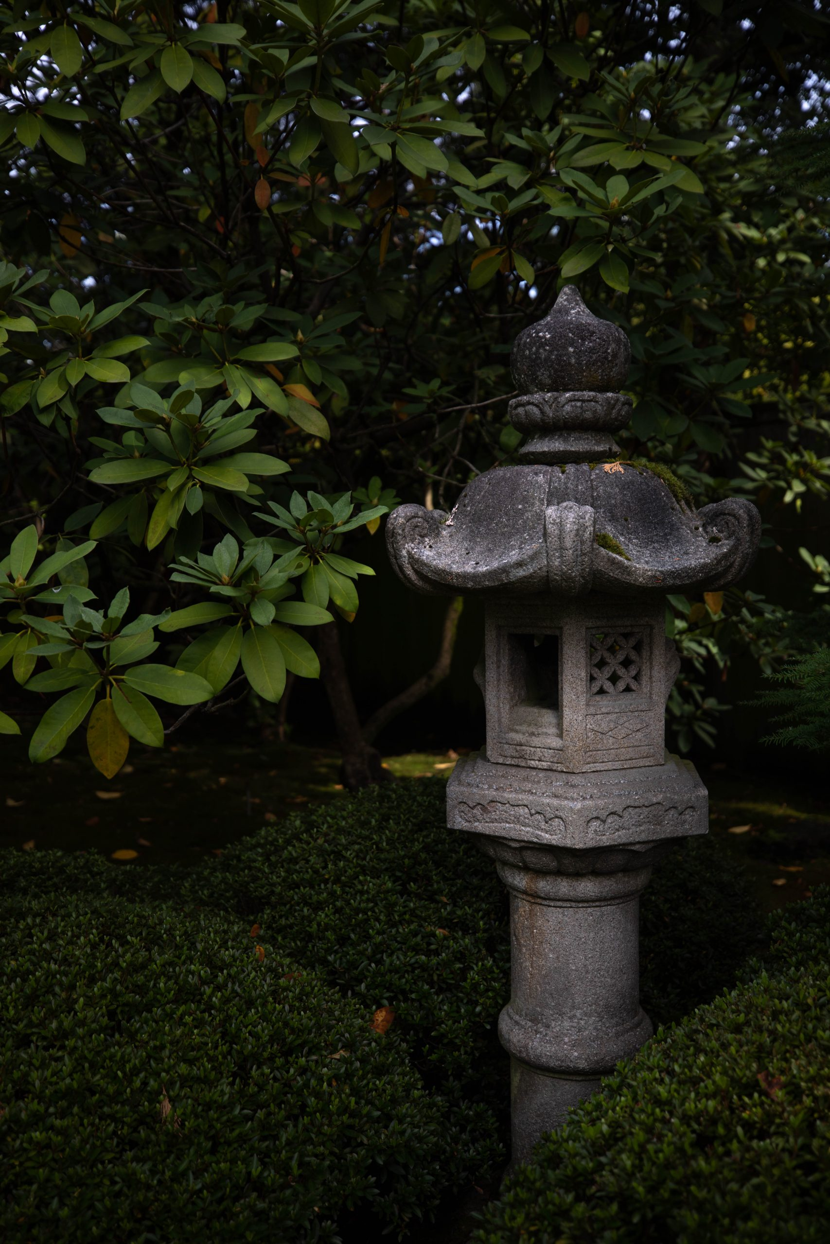 Stone Lantern at Seattle Japanese Garden in Washington Pacific Northwest by Annie Fairfax