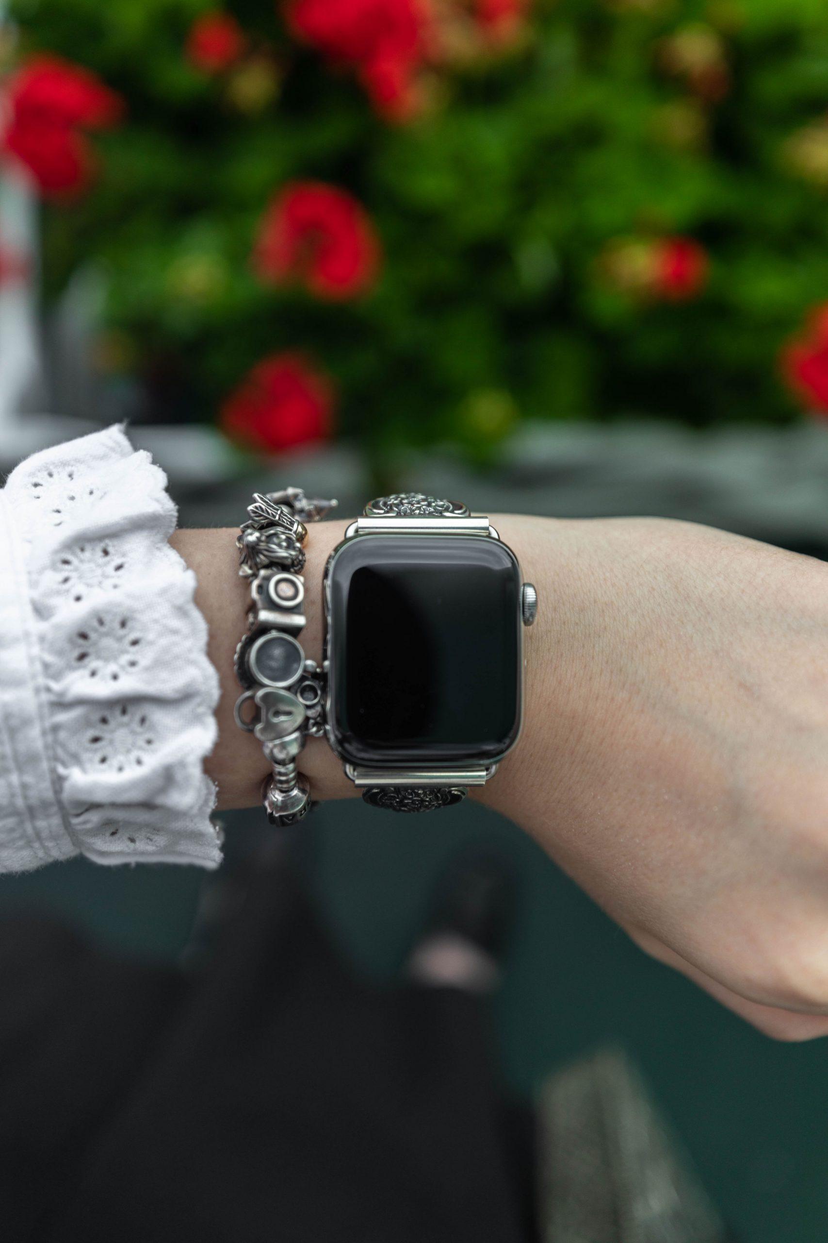 Floral & Botanicals Relief Silver Watch Band by Annie Fairfax