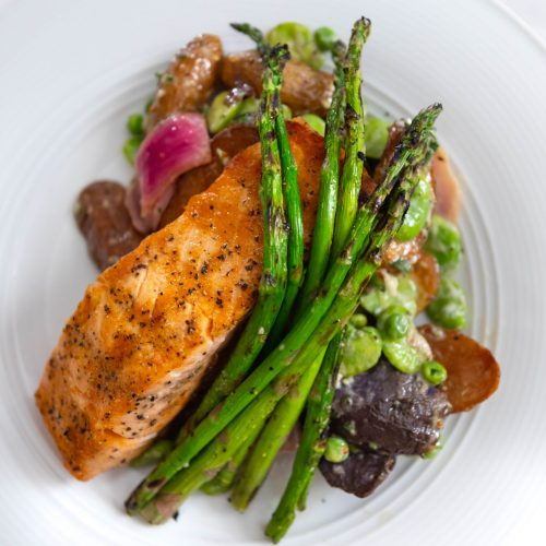 Aerie Restaurant at Grand Traverse Resort & Spa in Acme Traverse City Michigan Photographed by Annie Fairfax Grilled Atlantic Salmon Smoky Fingerling Potato Salad with Fava Beans, Pickled Onion Grilled Asparagus, Cider Gastrique