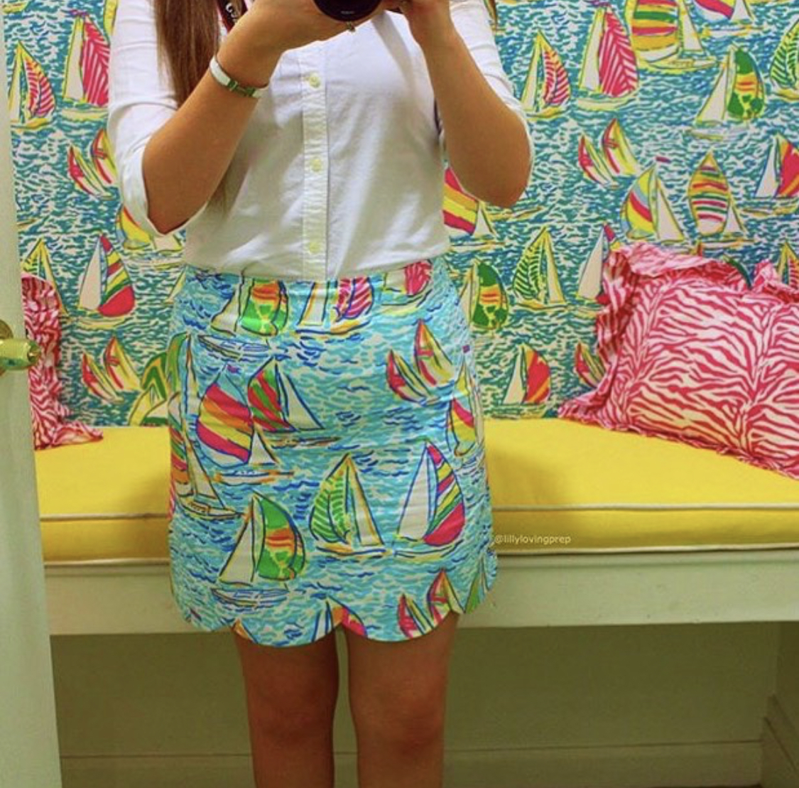 My Favorite Lilly Pulitzer Looks Over The Years You Gotta Regatta Skirt Ralph Lauren Button Up Worn by Annie Fairfax
