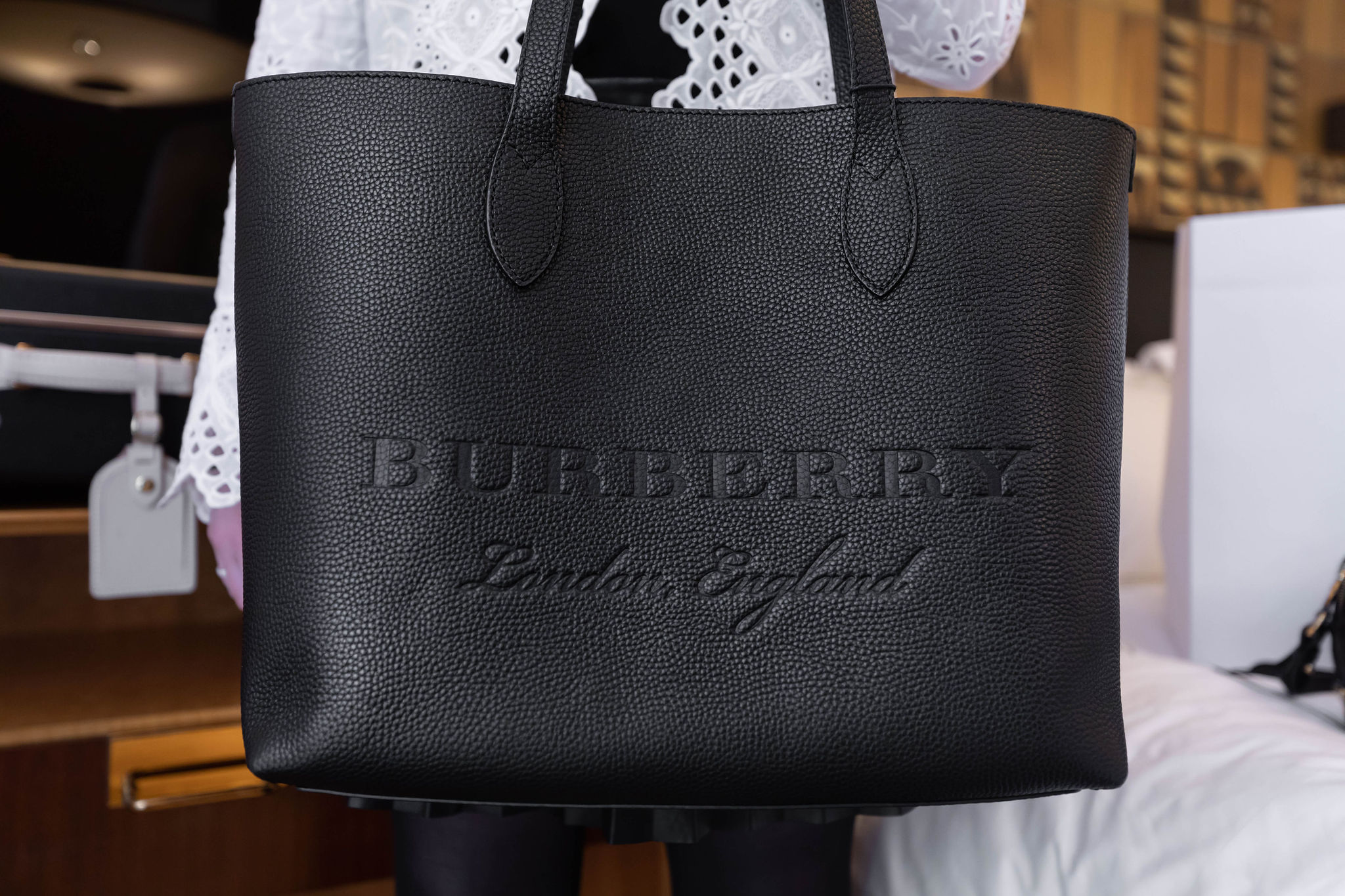Burberry Remington Black Leather Tote Bag from Fashion Outlets of Chicago by Annie Fairfax