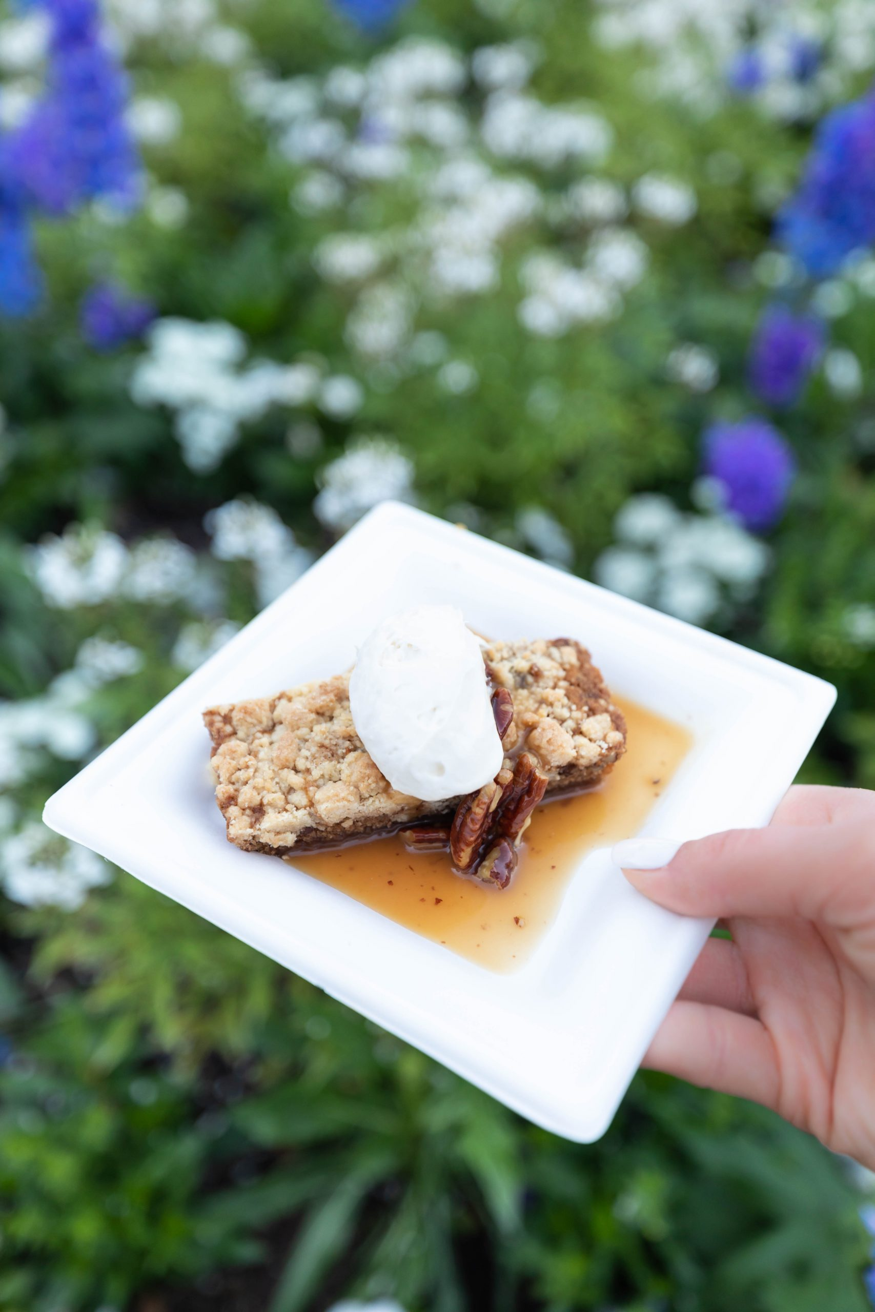 Pecan Cake with Maple Whipped Cream in The American Adventure at Epcot Walt Disney World by Annie Fairfax