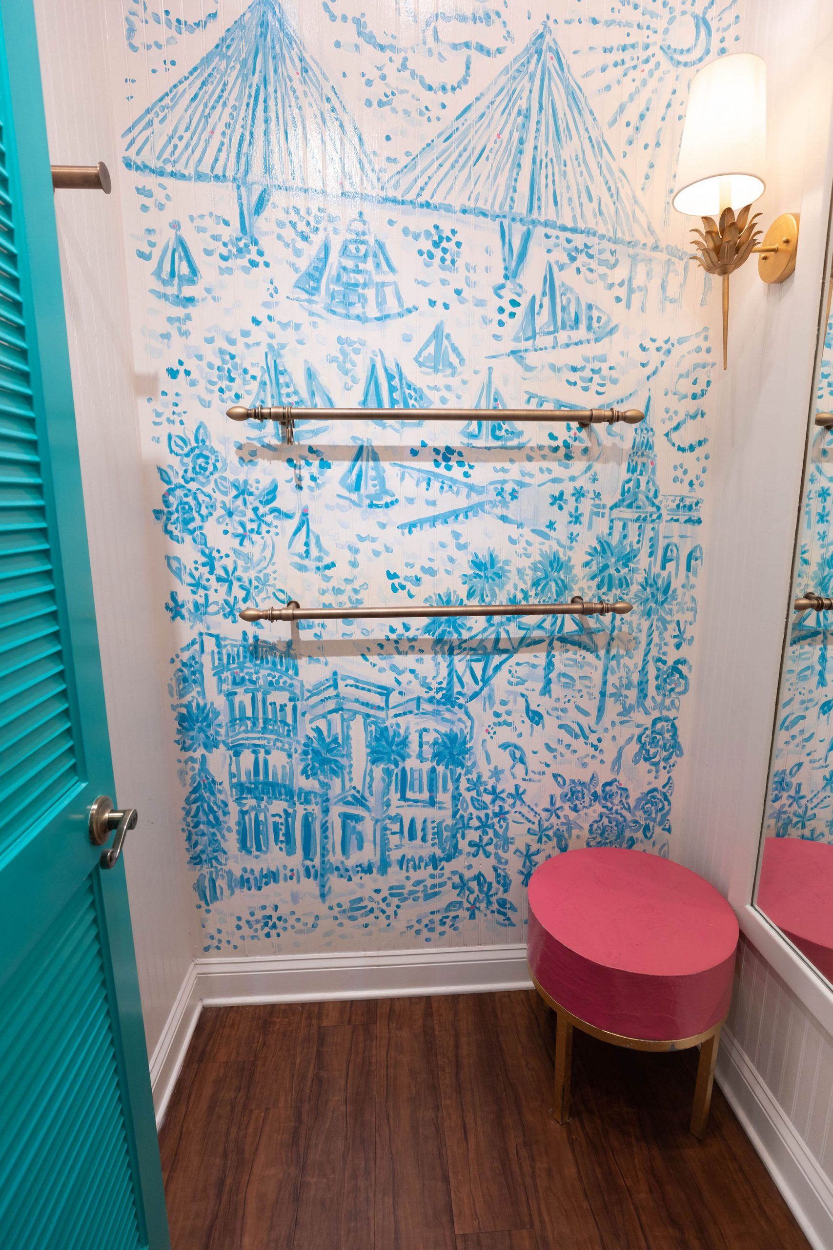 Palm Avenue Lilly Pulitzer Store in Charleston South Carolina Handpainted Dressing Rooms Photographed by Annie Fairfax