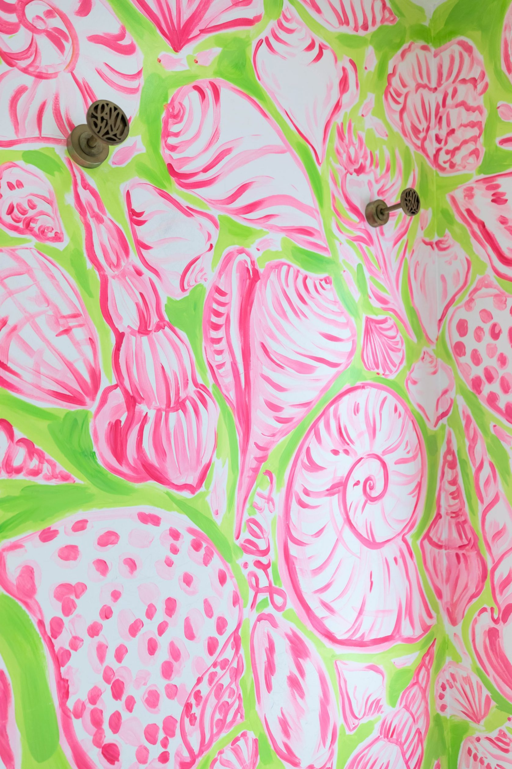Pink and Green Seashell Print Disney Springs Orlando Florida Lilly Pulitzer Store Handpainted Dressing Room Photographed by Annie Fairfax